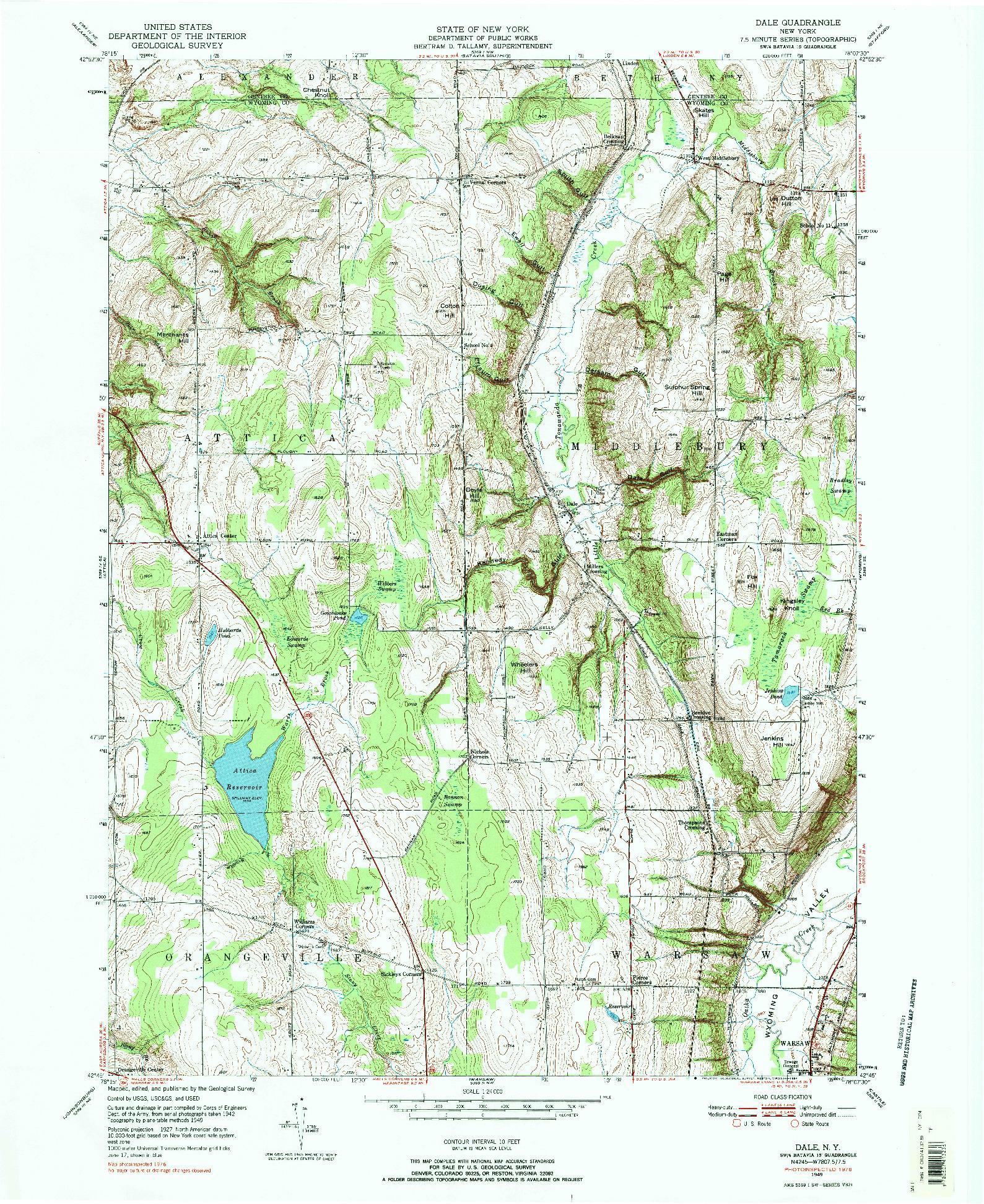 USGS 1:24000-SCALE QUADRANGLE FOR DALE, NY 1949