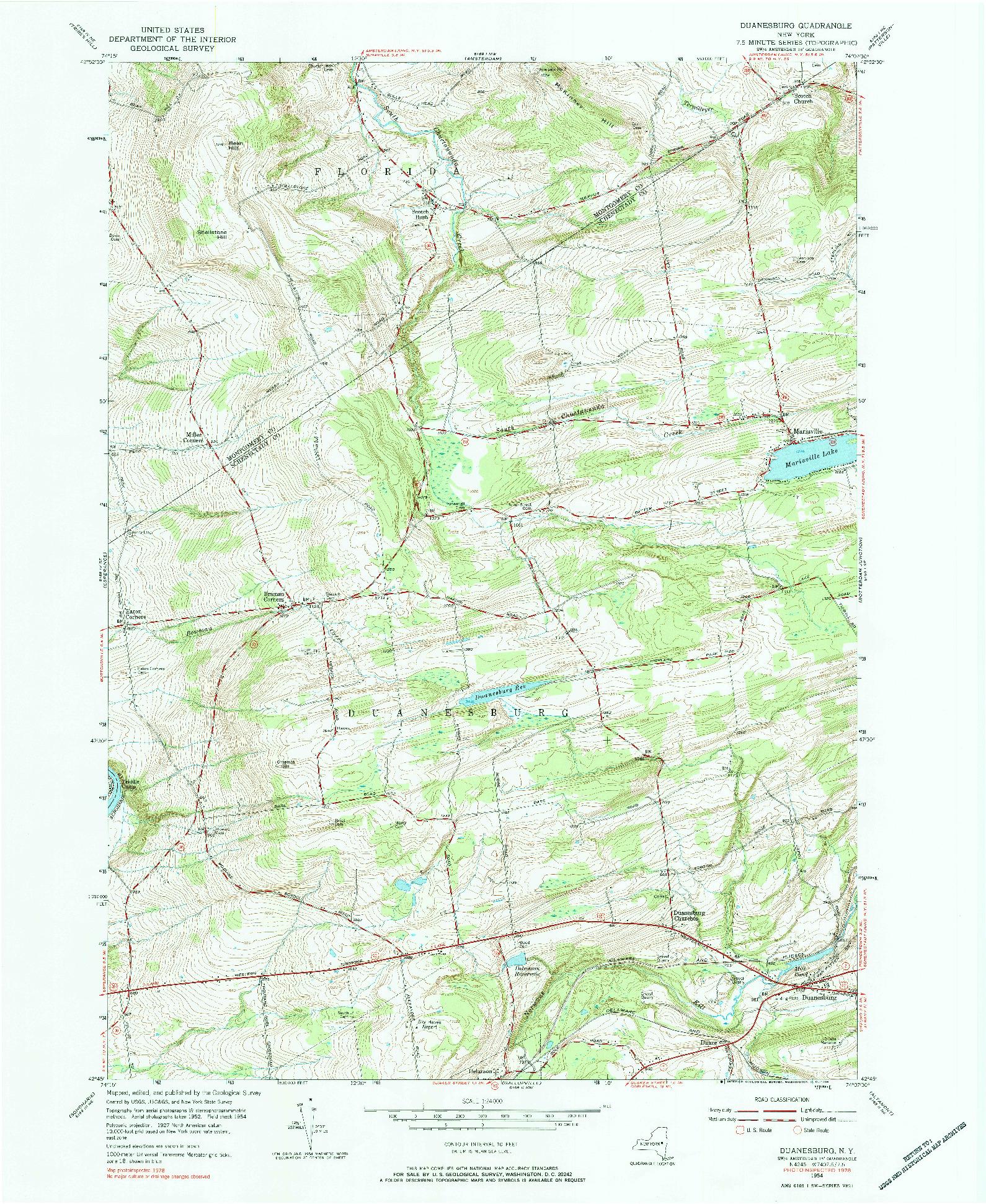 USGS 1:24000-SCALE QUADRANGLE FOR DUANESBURG, NY 1954