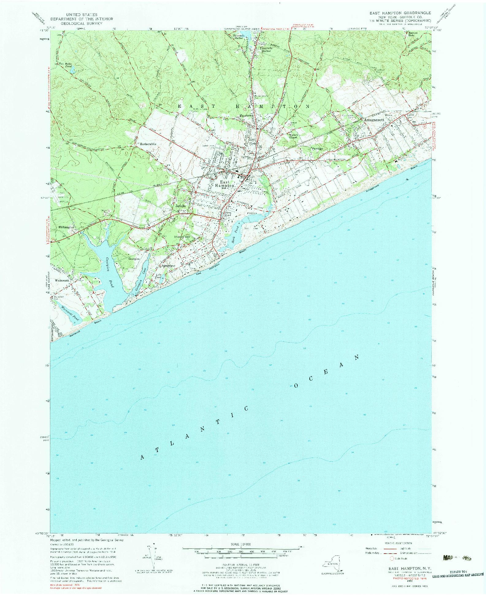 USGS 1:24000-SCALE QUADRANGLE FOR EAST HAMPTON, NY 1956