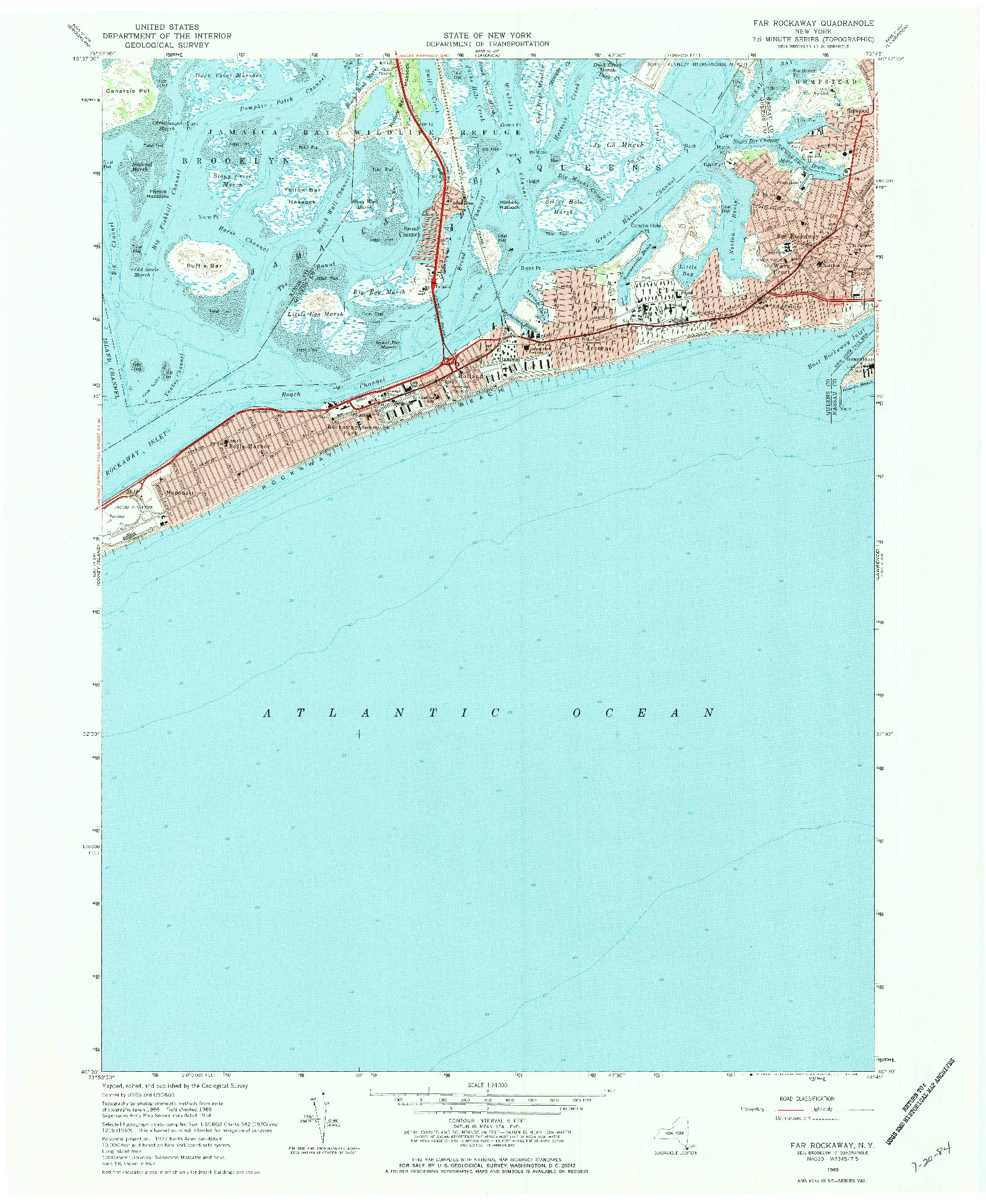 USGS 1:24000-SCALE QUADRANGLE FOR FAR ROCKAWAY, NY 1969
