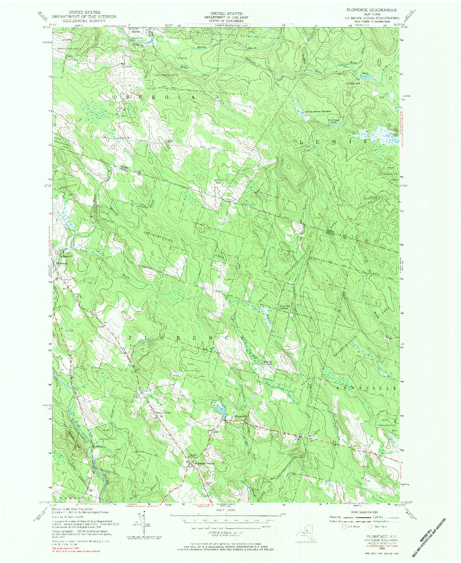 USGS 1:24000-SCALE QUADRANGLE FOR FLORENCE, NY 1955