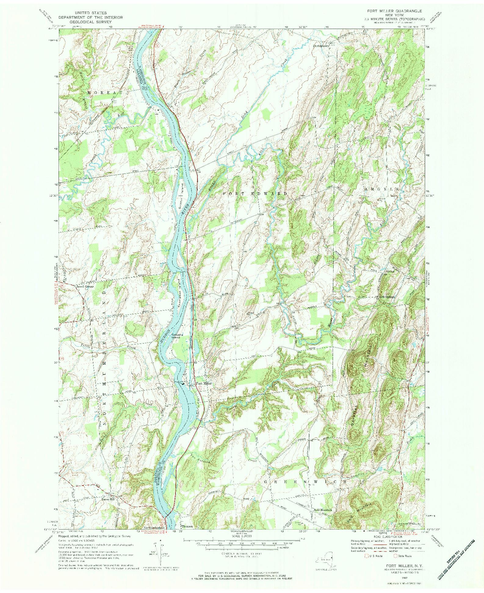 USGS 1:24000-SCALE QUADRANGLE FOR FT MILLER, NY 1967