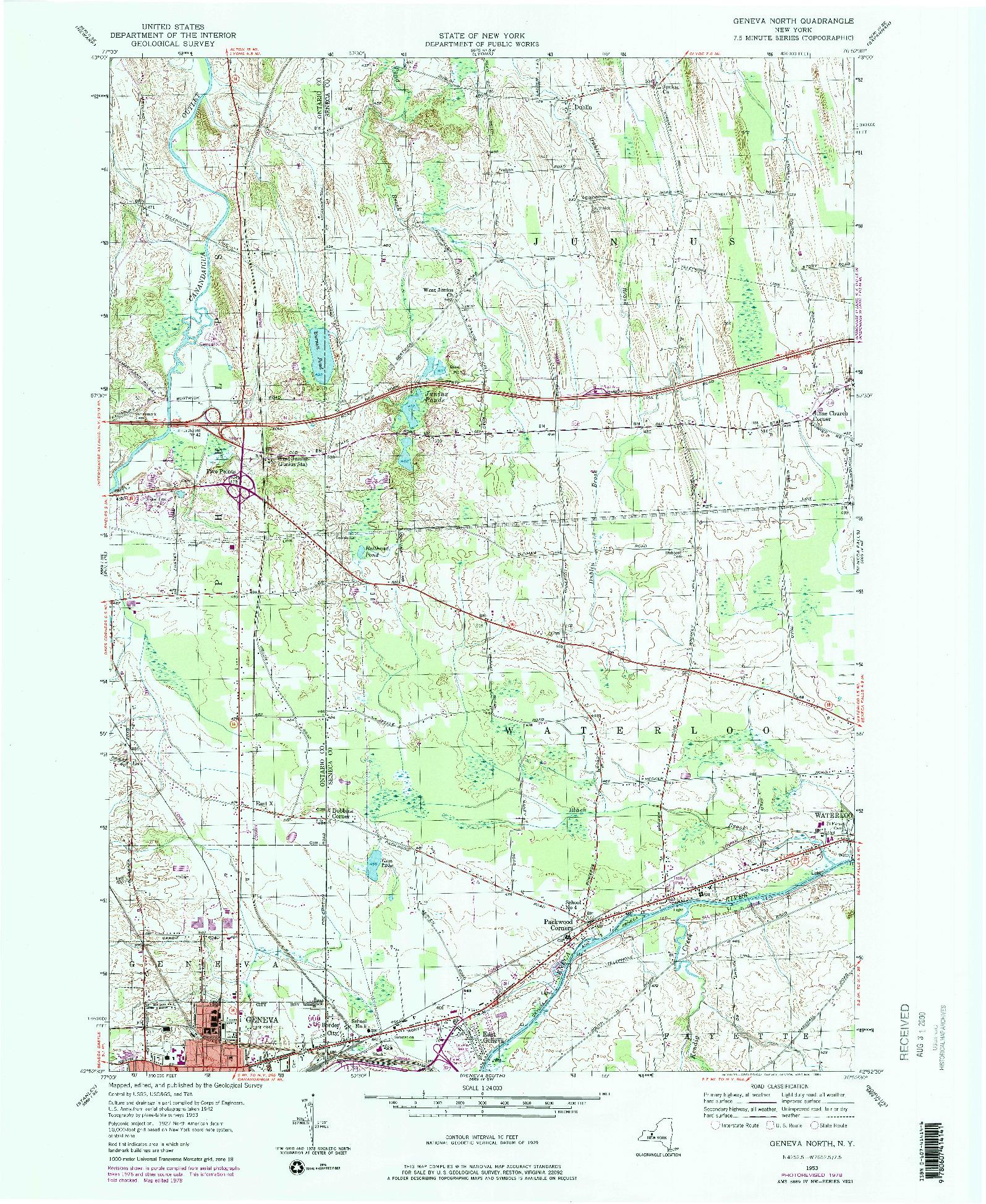 USGS 1:24000-SCALE QUADRANGLE FOR GENEVA NORTH, NY 1953