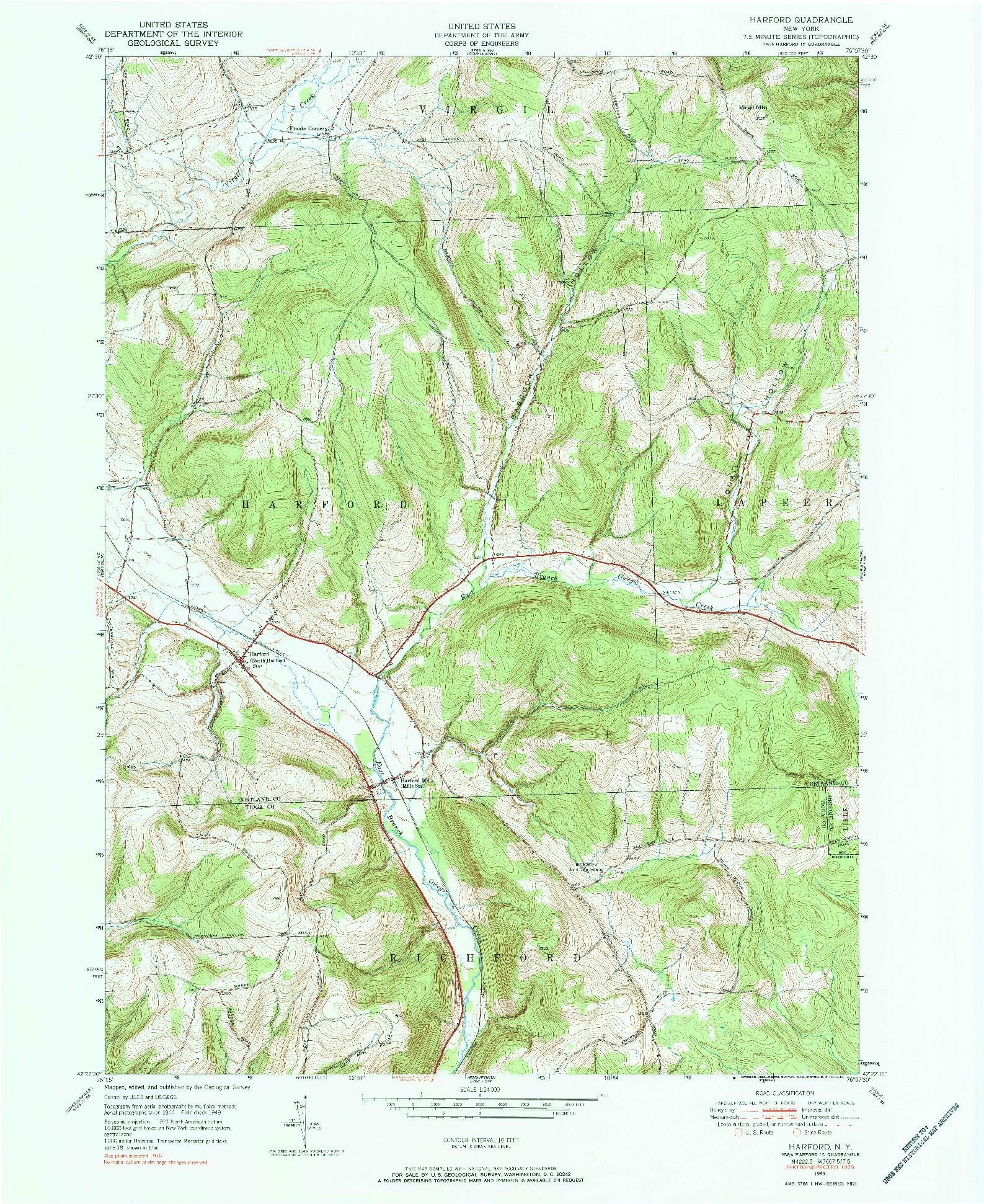USGS 1:24000-SCALE QUADRANGLE FOR HARFORD, NY 1976