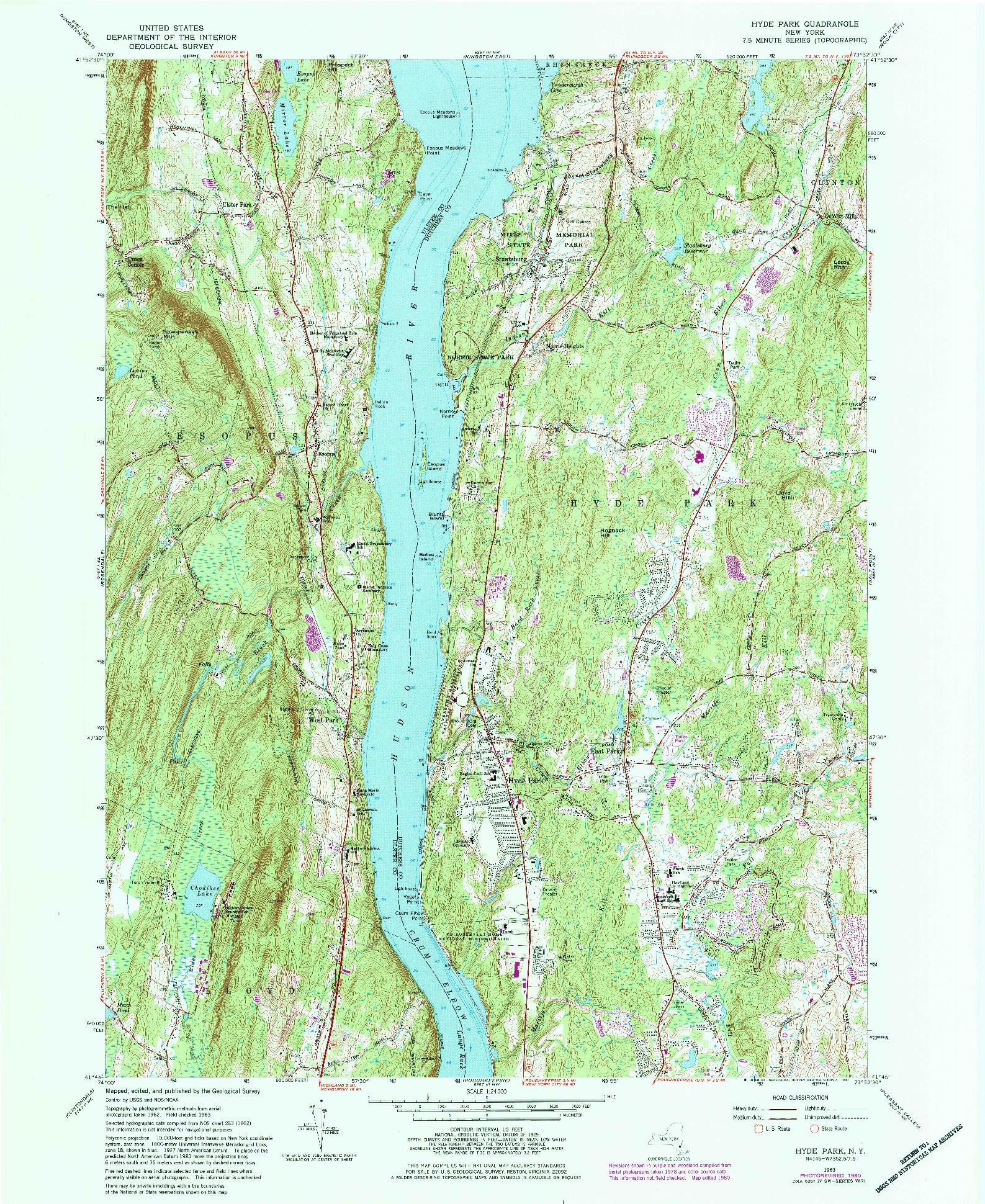 USGS 1:24000-SCALE QUADRANGLE FOR HYDE PARK, NY 1980