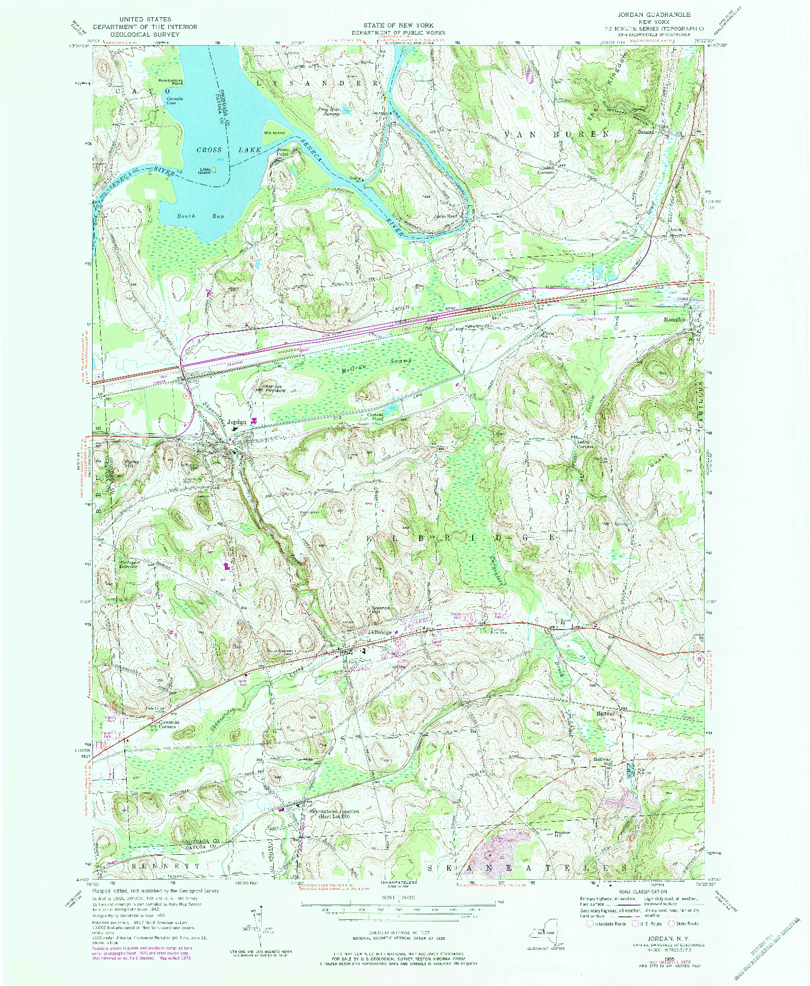 USGS 1:24000-SCALE QUADRANGLE FOR JORDAN, NY 1978