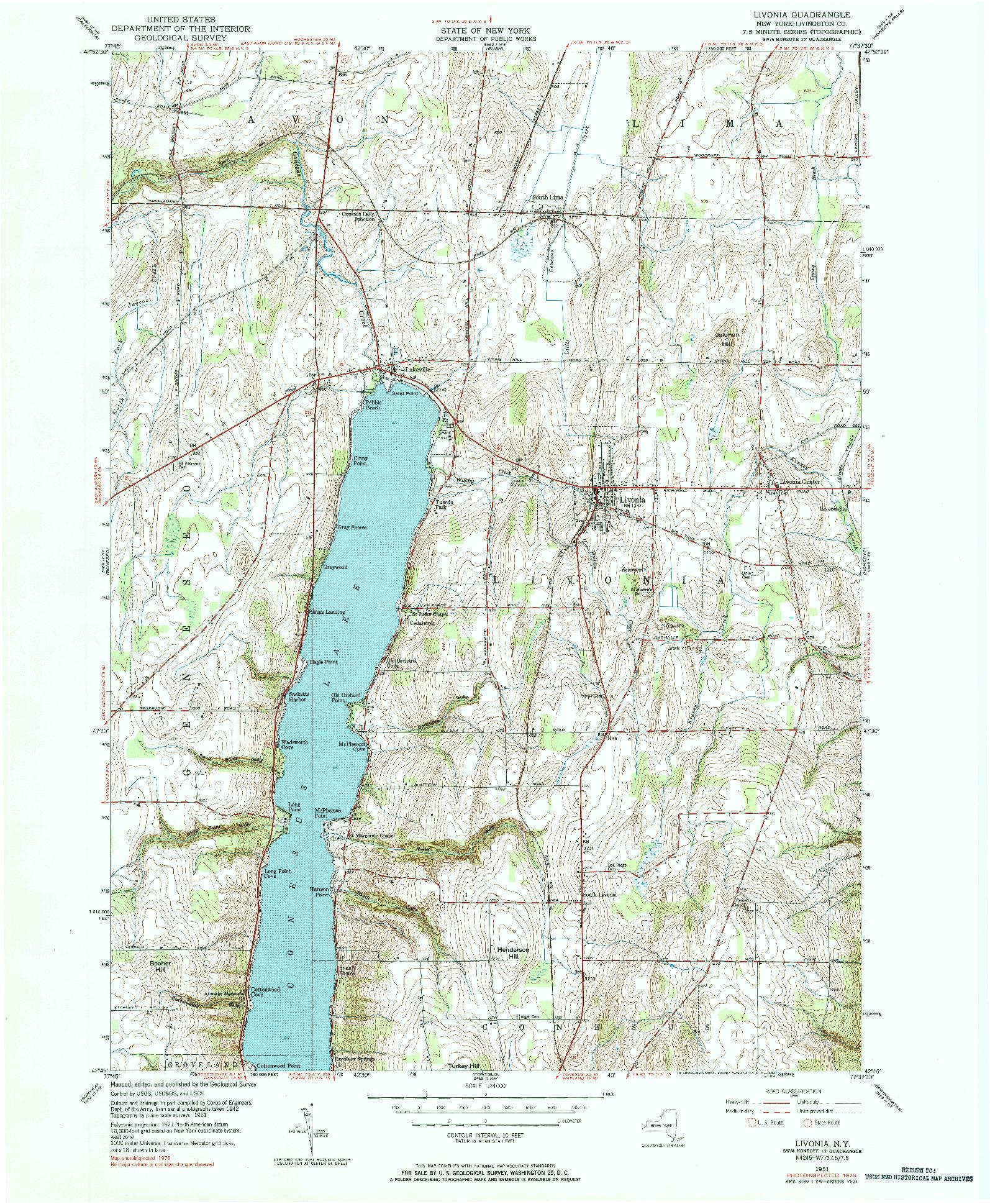 USGS 1:24000-SCALE QUADRANGLE FOR LIVONIA, NY 1951