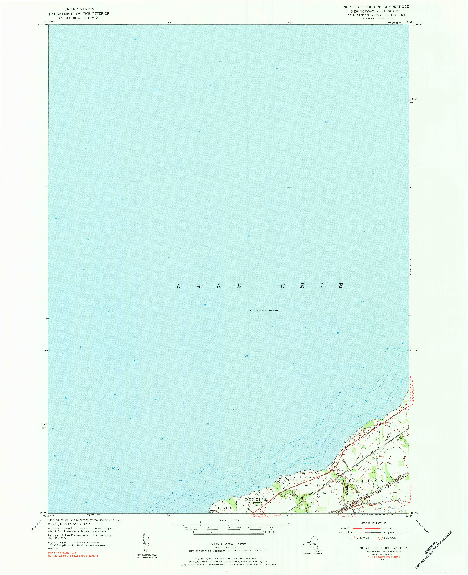 USGS 1:24000-SCALE QUADRANGLE FOR NORTH OF DUNKIRK, NY 1955