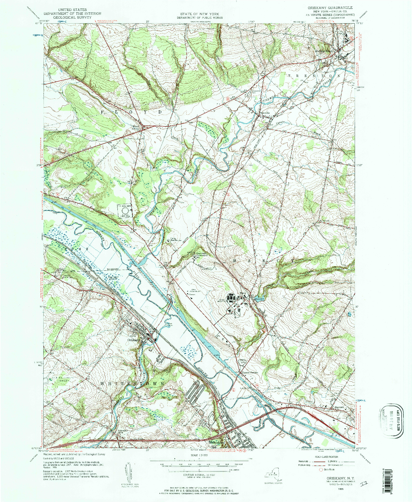 USGS 1:24000-SCALE QUADRANGLE FOR ORISKANY, NY 1955