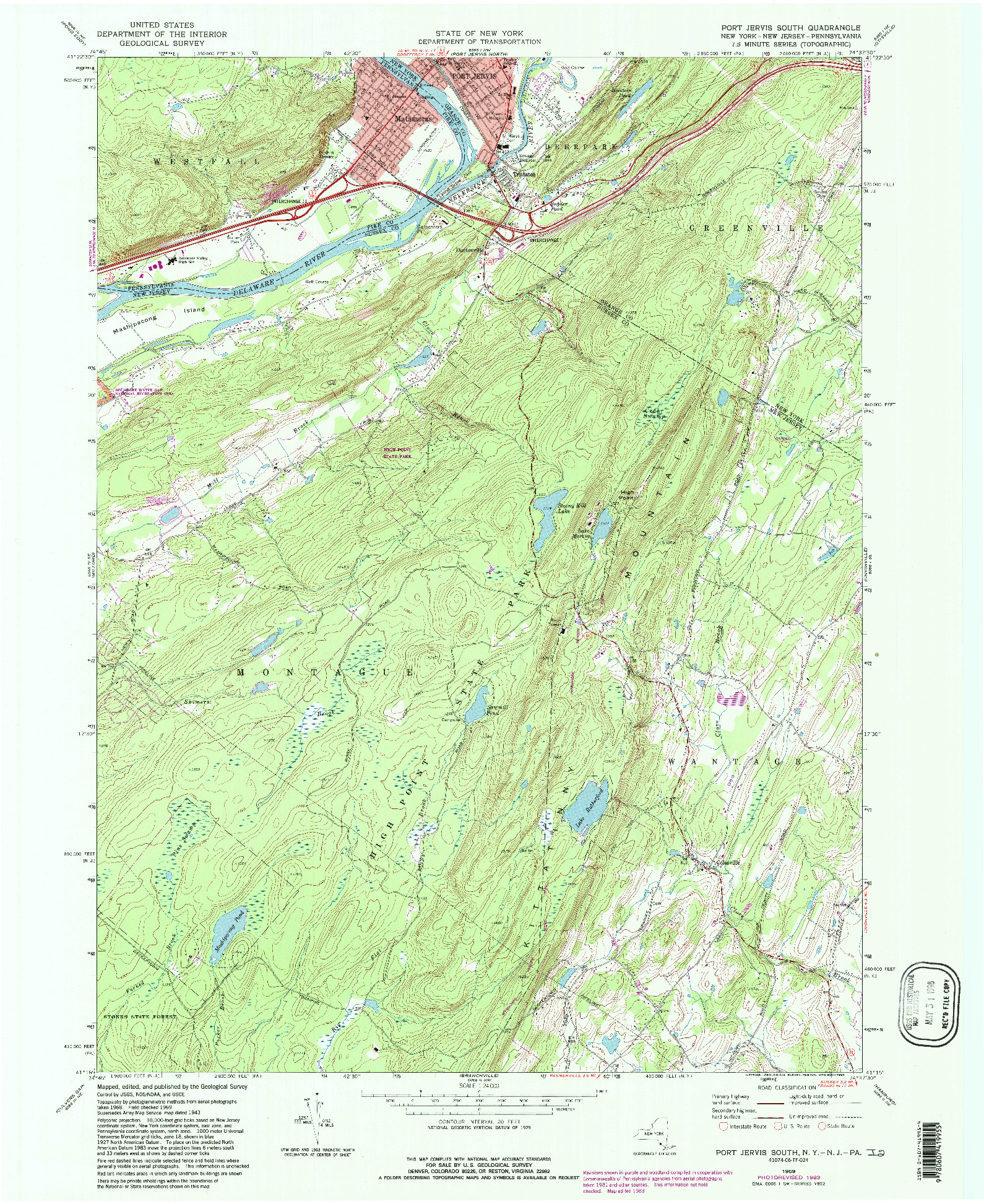 USGS 1:24000-SCALE QUADRANGLE FOR PORT JERVIS SOUTH, NY 1969