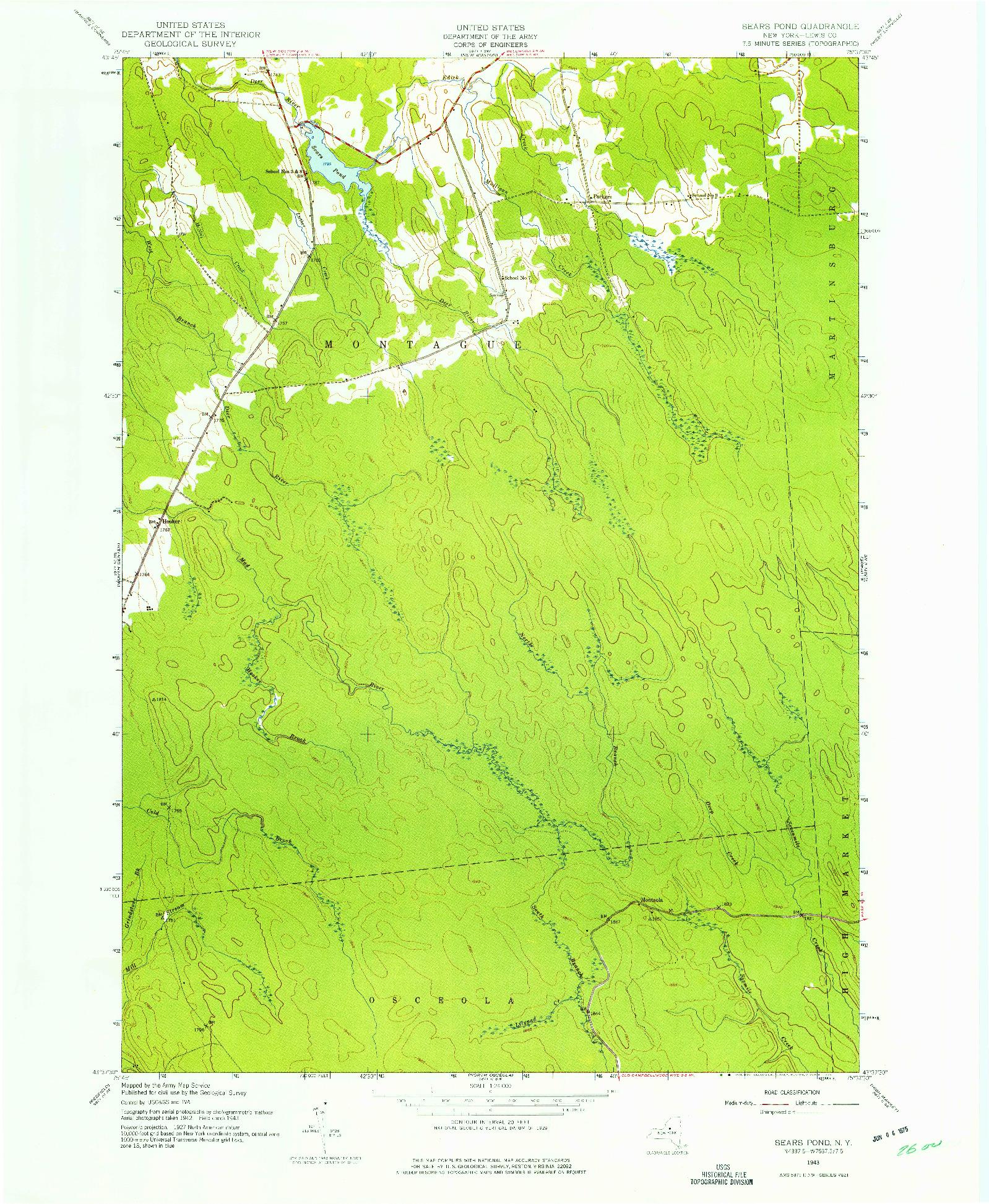 USGS 1:24000-SCALE QUADRANGLE FOR SEARS POND, NY 1943