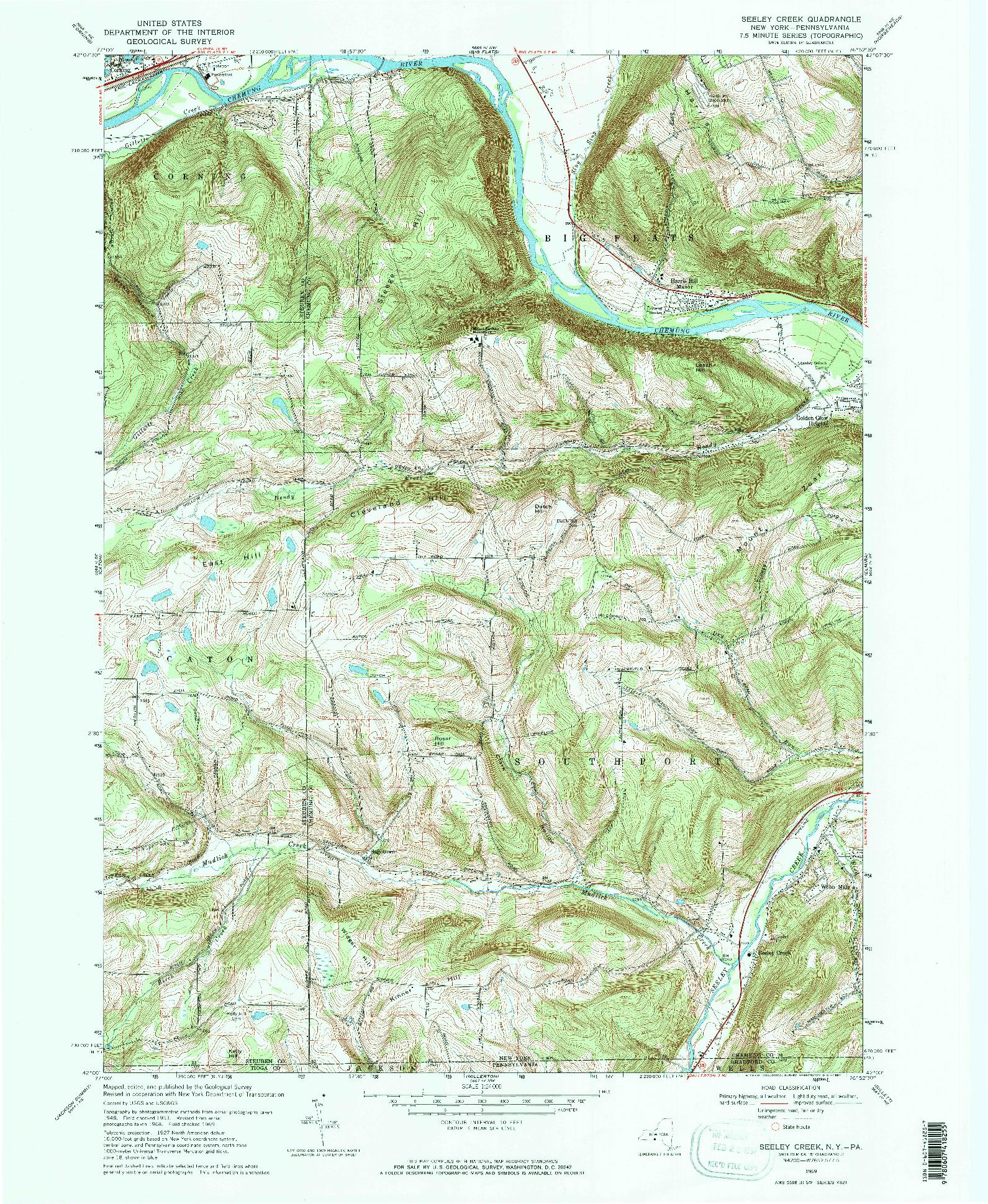 USGS 1:24000-SCALE QUADRANGLE FOR SEELEY CREEK, NY 1969