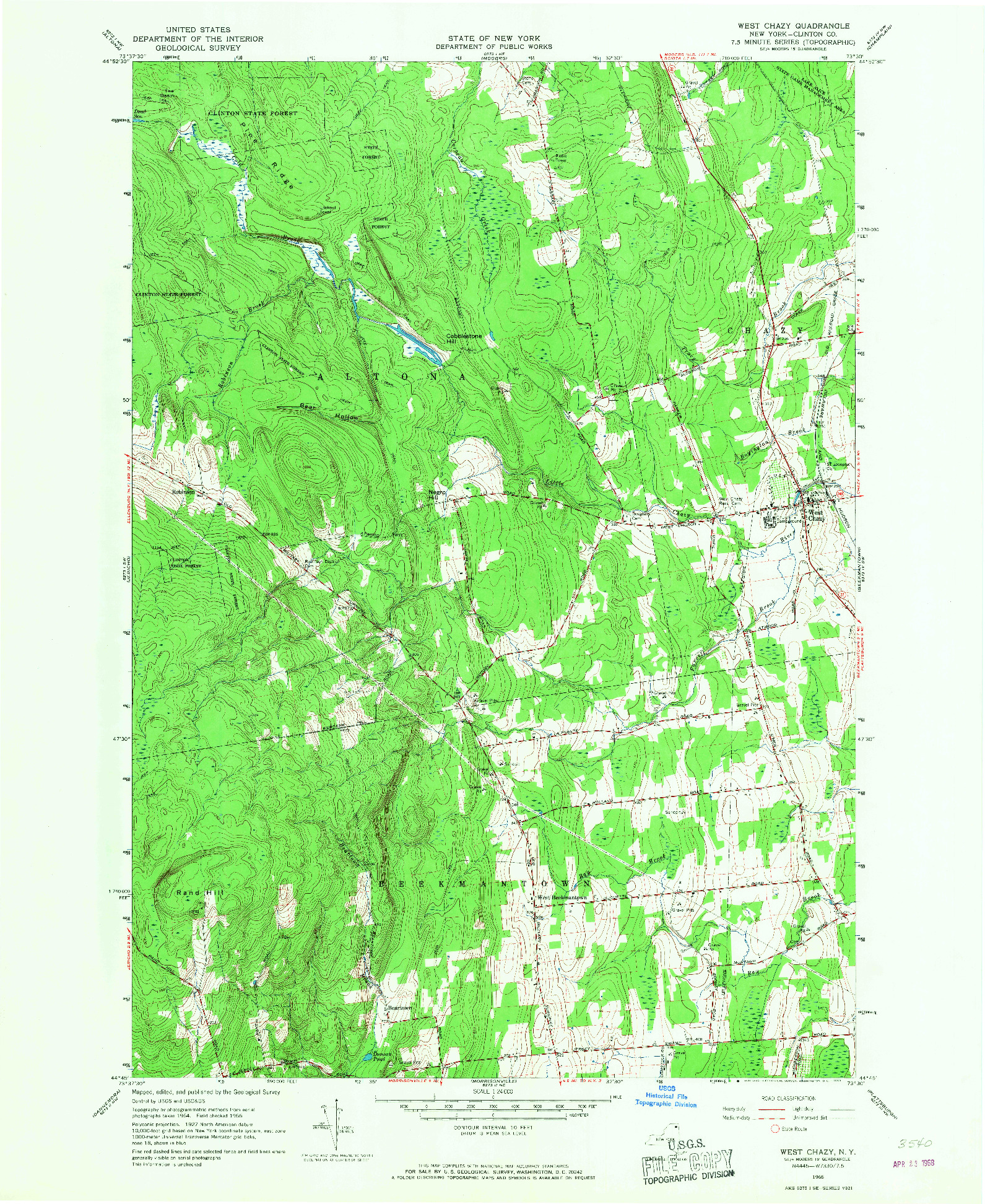 USGS 1:24000-SCALE QUADRANGLE FOR WEST CHAZY, NY 1966