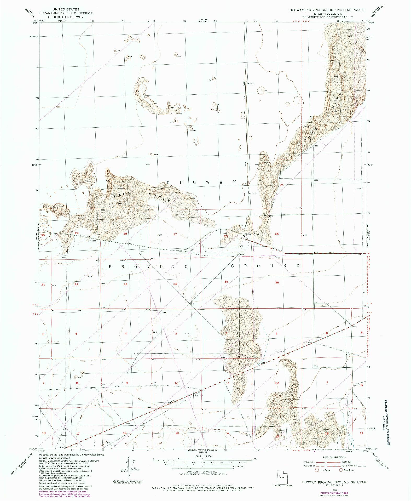 USGS 1:24000-SCALE QUADRANGLE FOR DUGWAY PROVING GROUND NE, UT 1954