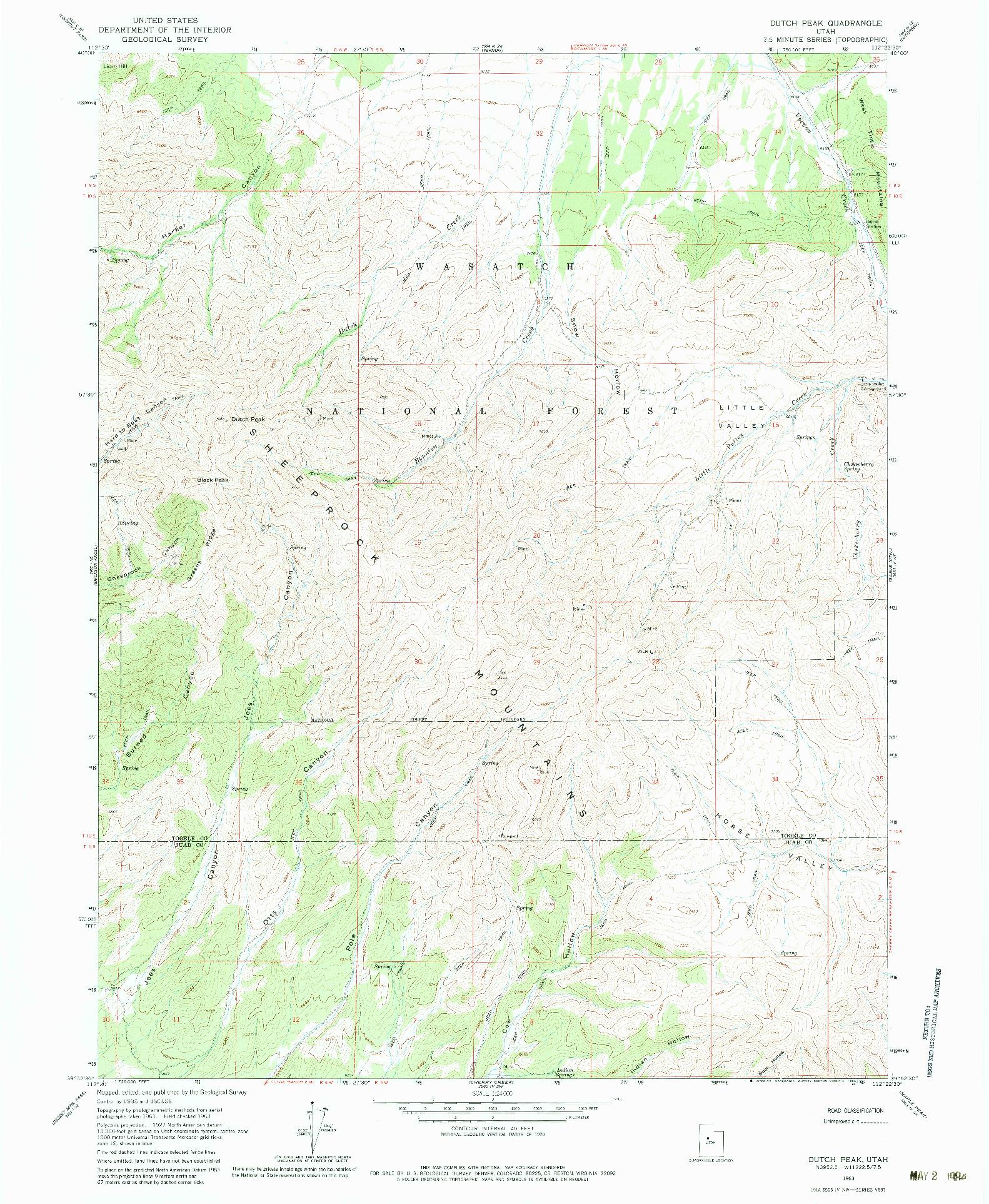 USGS 1:24000-SCALE QUADRANGLE FOR DUTCH PEAK, UT 1963