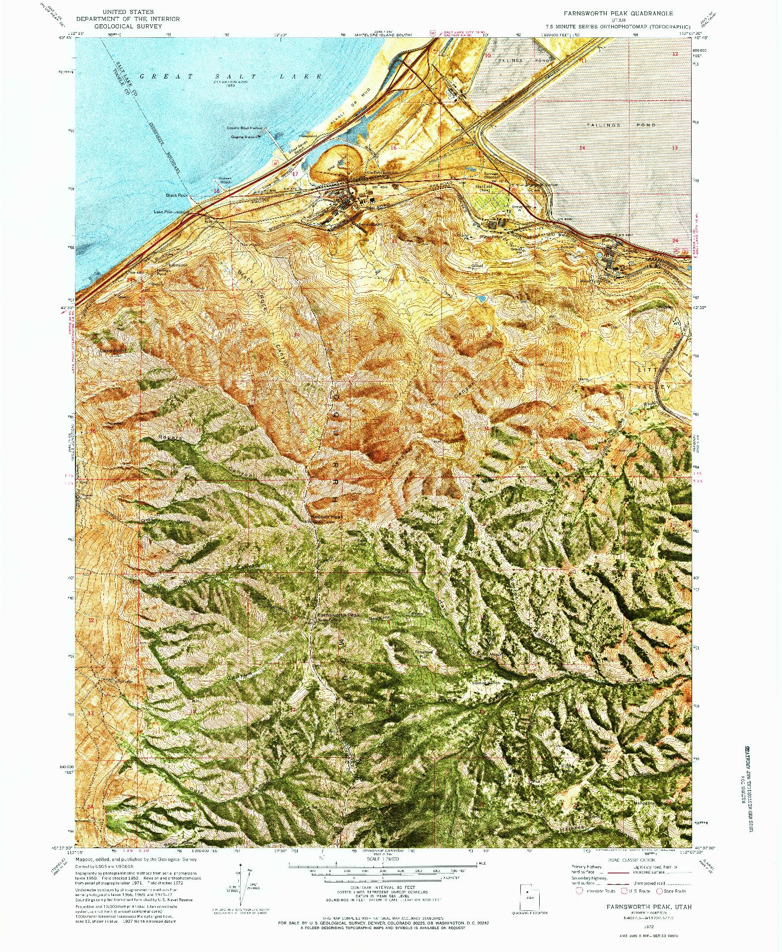 USGS 1:24000-SCALE QUADRANGLE FOR FARNSWORTH PEAK, UT 1972