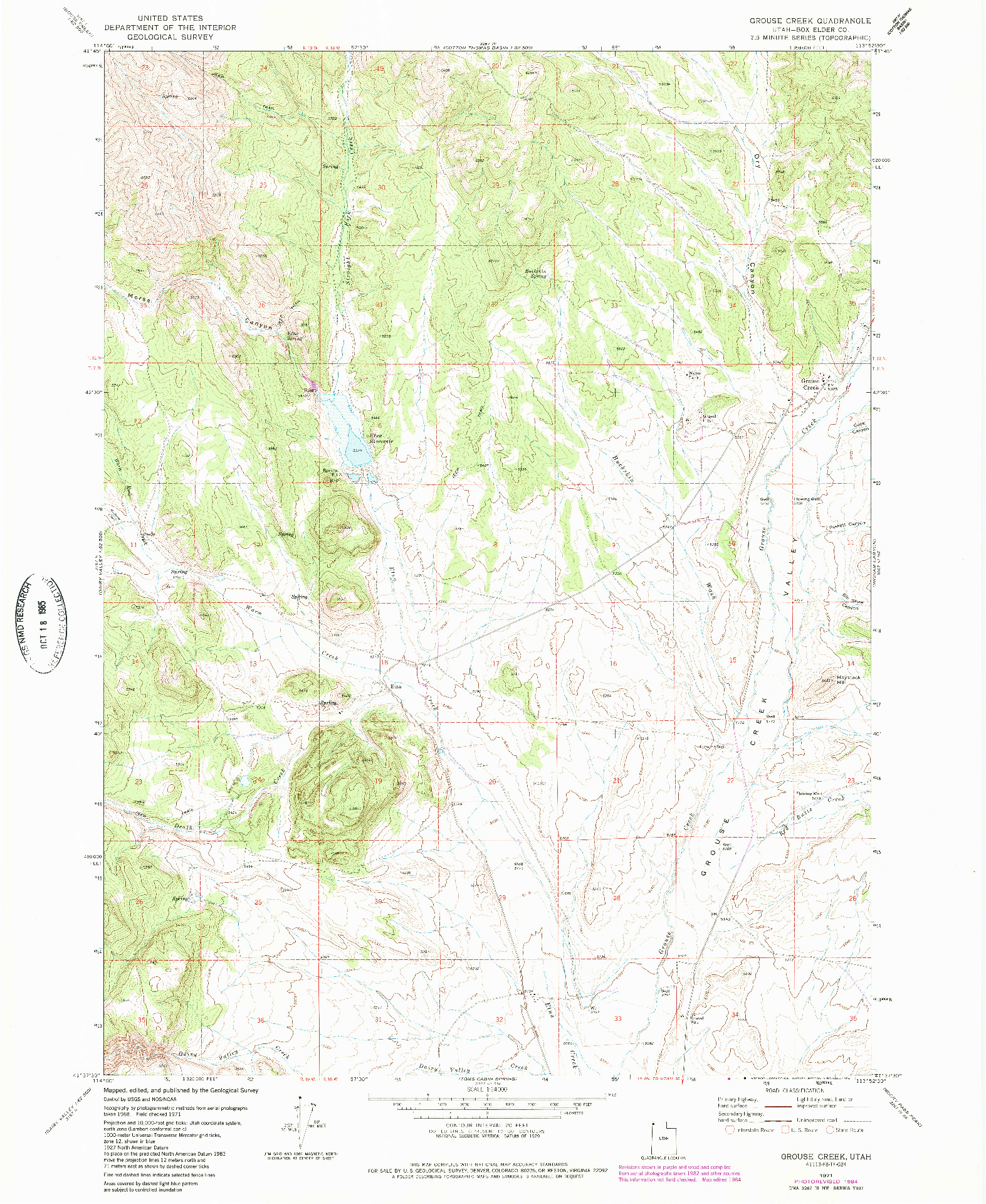 USGS 1:24000-SCALE QUADRANGLE FOR GROUSE CREEK, UT 1971