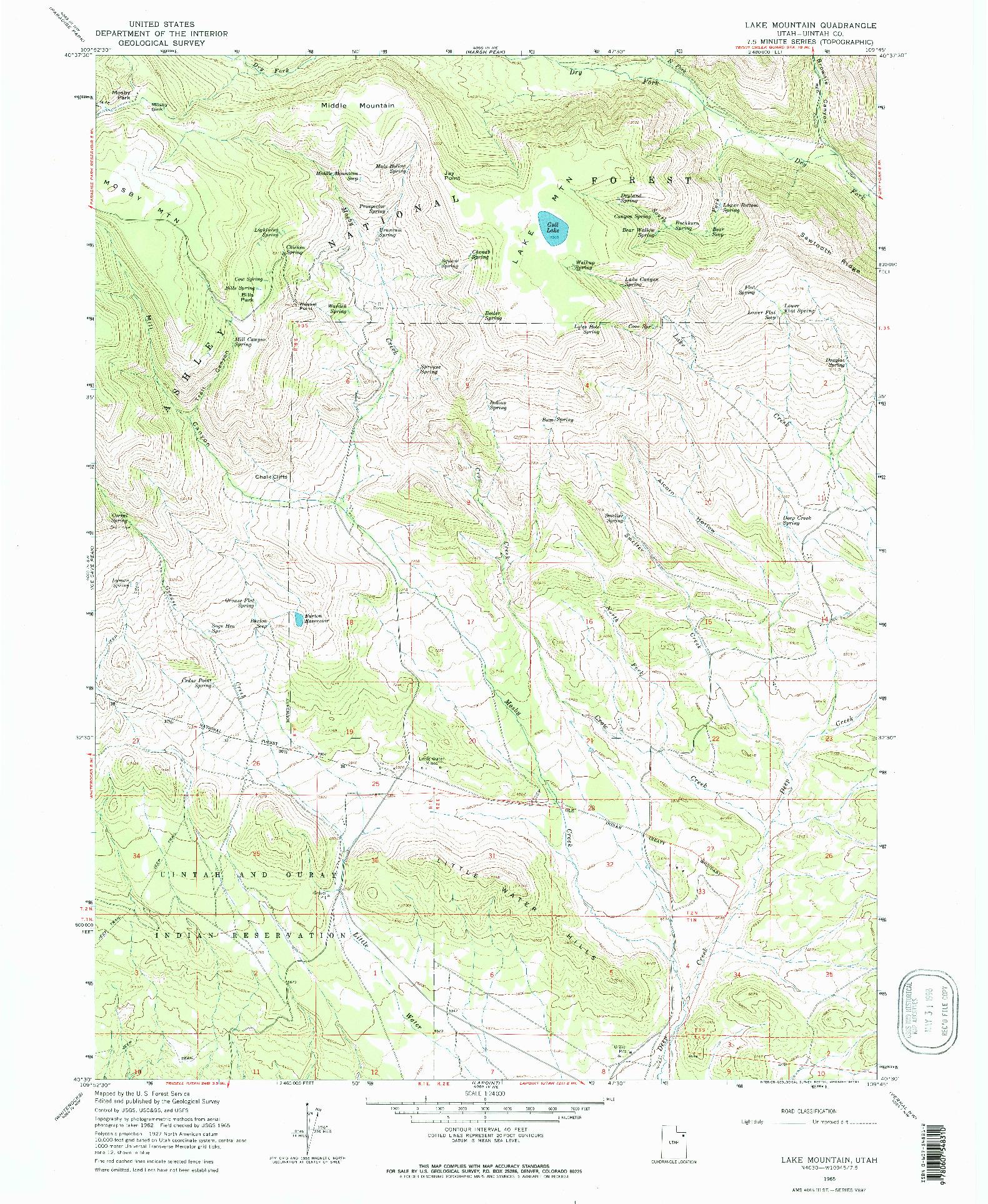 USGS 1:24000-SCALE QUADRANGLE FOR LAKE MOUNTAIN, UT 1965