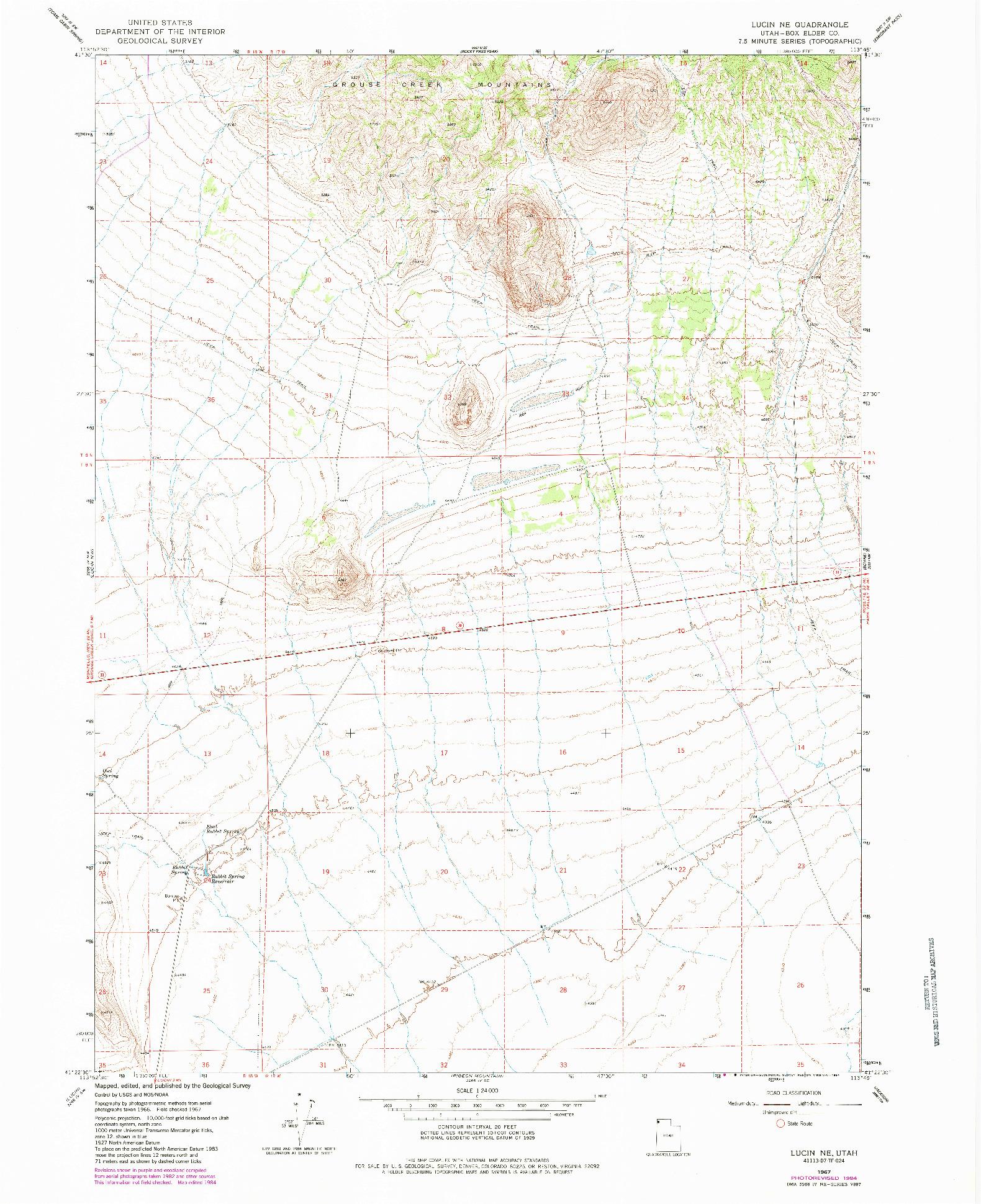 USGS 1:24000-SCALE QUADRANGLE FOR LUCIN NE, UT 1967
