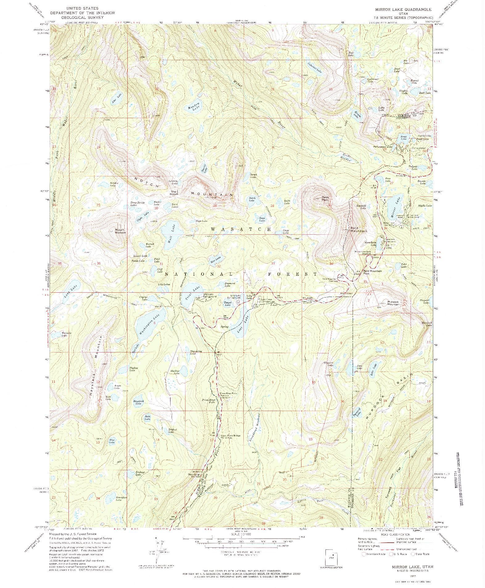 USGS 1:24000-SCALE QUADRANGLE FOR MIRROR LAKE, UT 1972