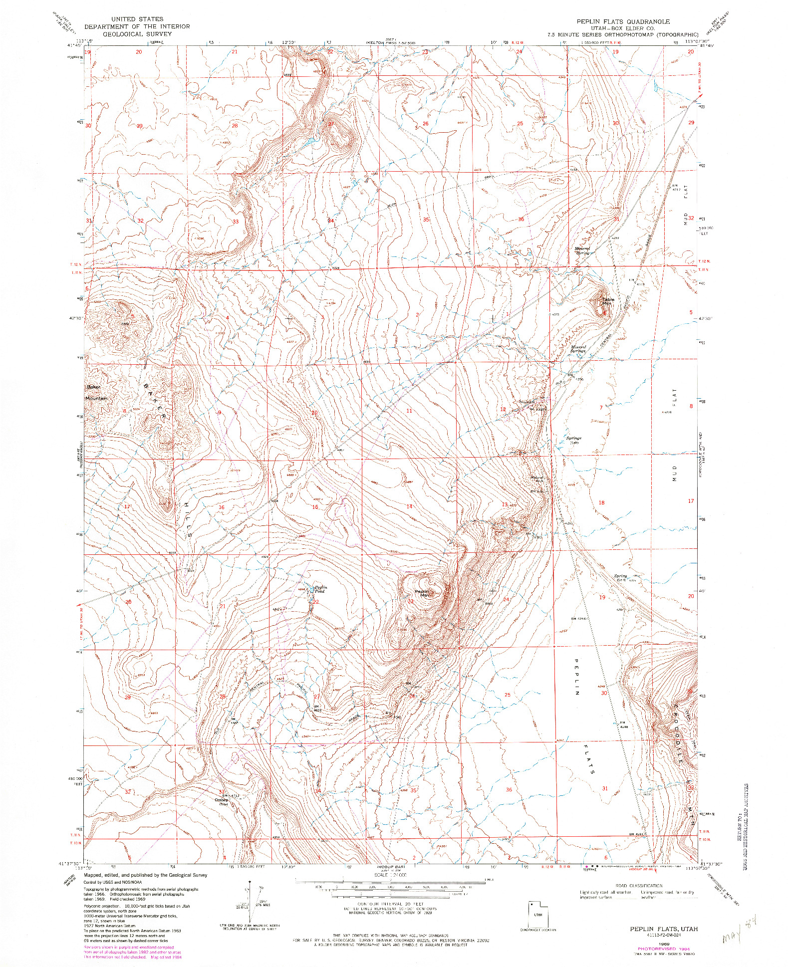 USGS 1:24000-SCALE QUADRANGLE FOR PEPLIN FLATS, UT 1969