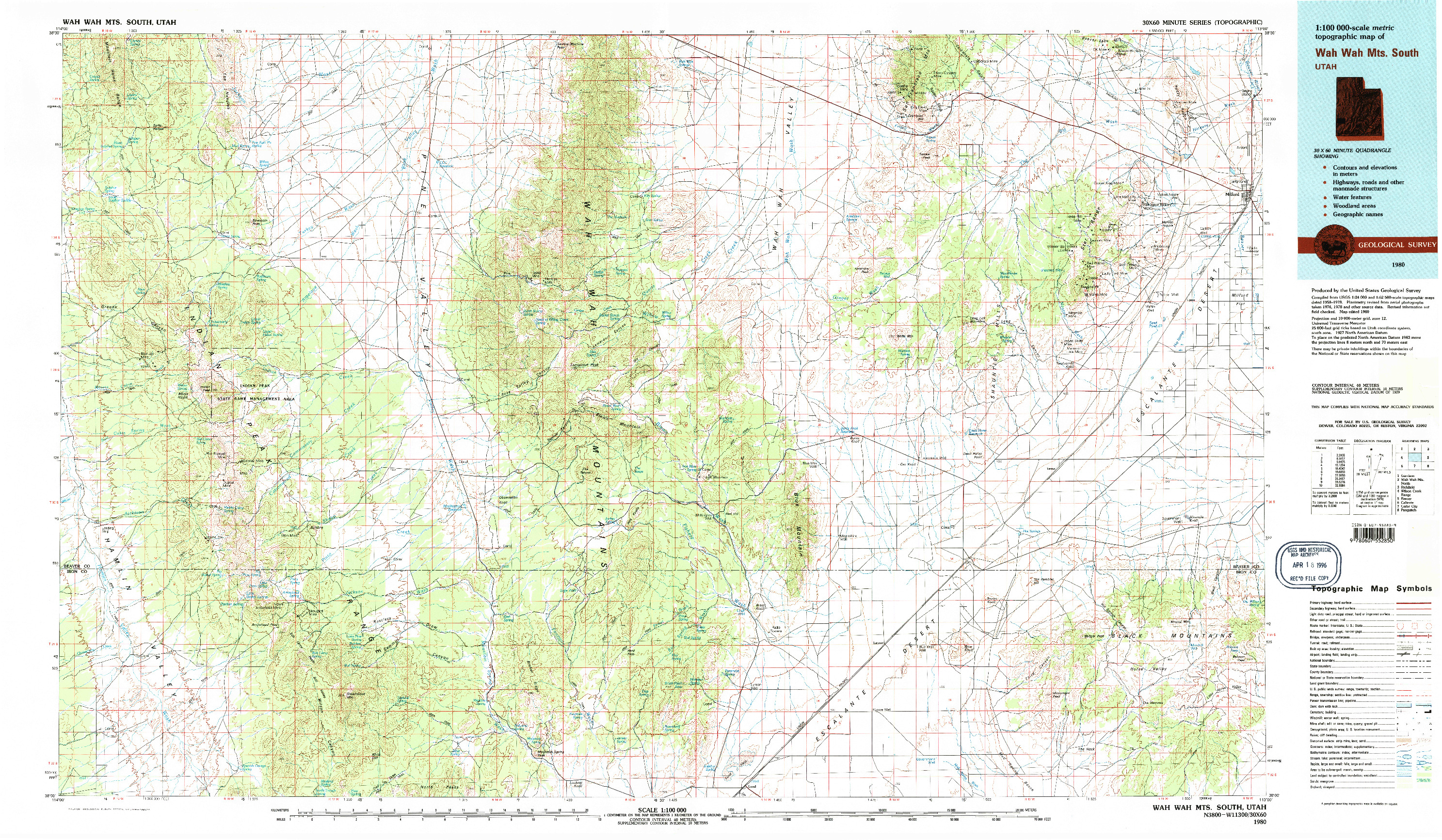 USGS 1:100000-SCALE QUADRANGLE FOR WAH WAH MTS. SOUTH, UT 1980