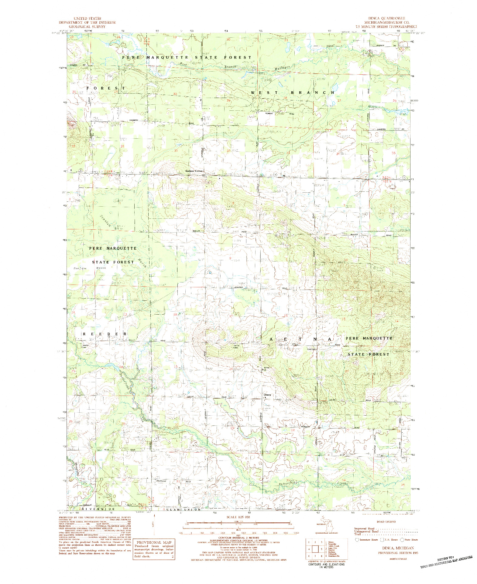 USGS 1:25000-SCALE QUADRANGLE FOR DINCA, MI 1983