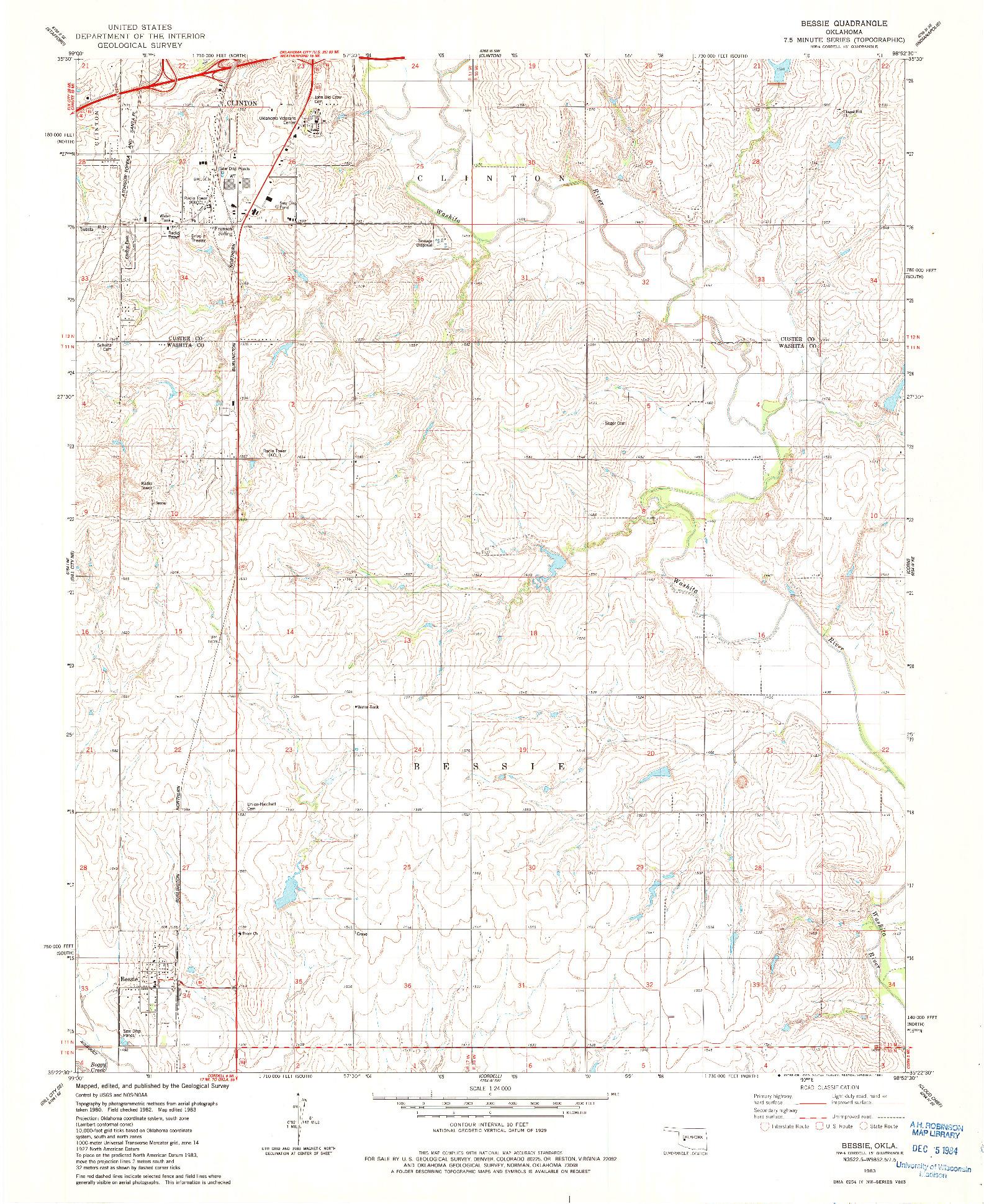 USGS 1:24000-SCALE QUADRANGLE FOR BESSIE, OK 1983