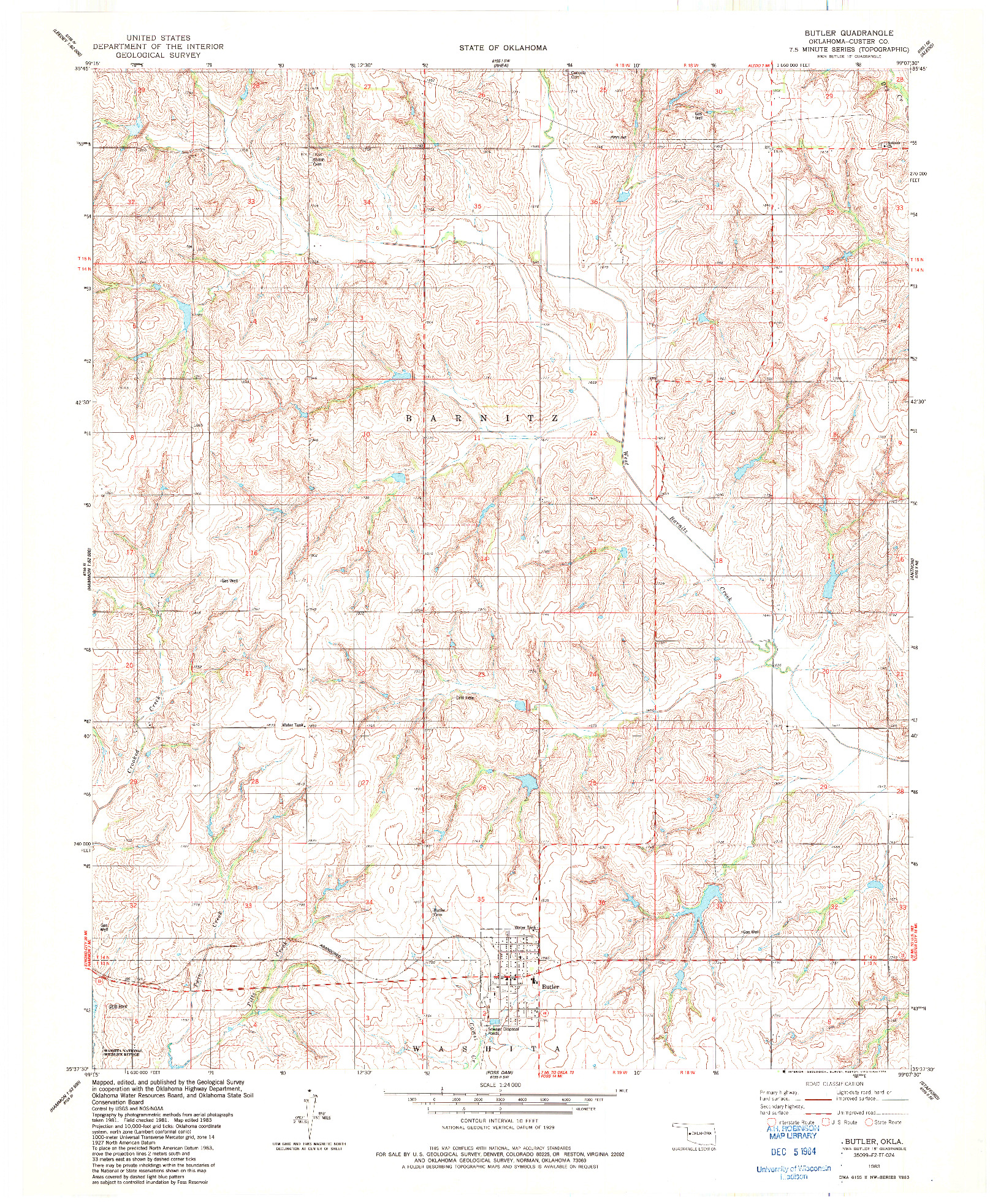 USGS 1:24000-SCALE QUADRANGLE FOR BUTLER, OK 1983
