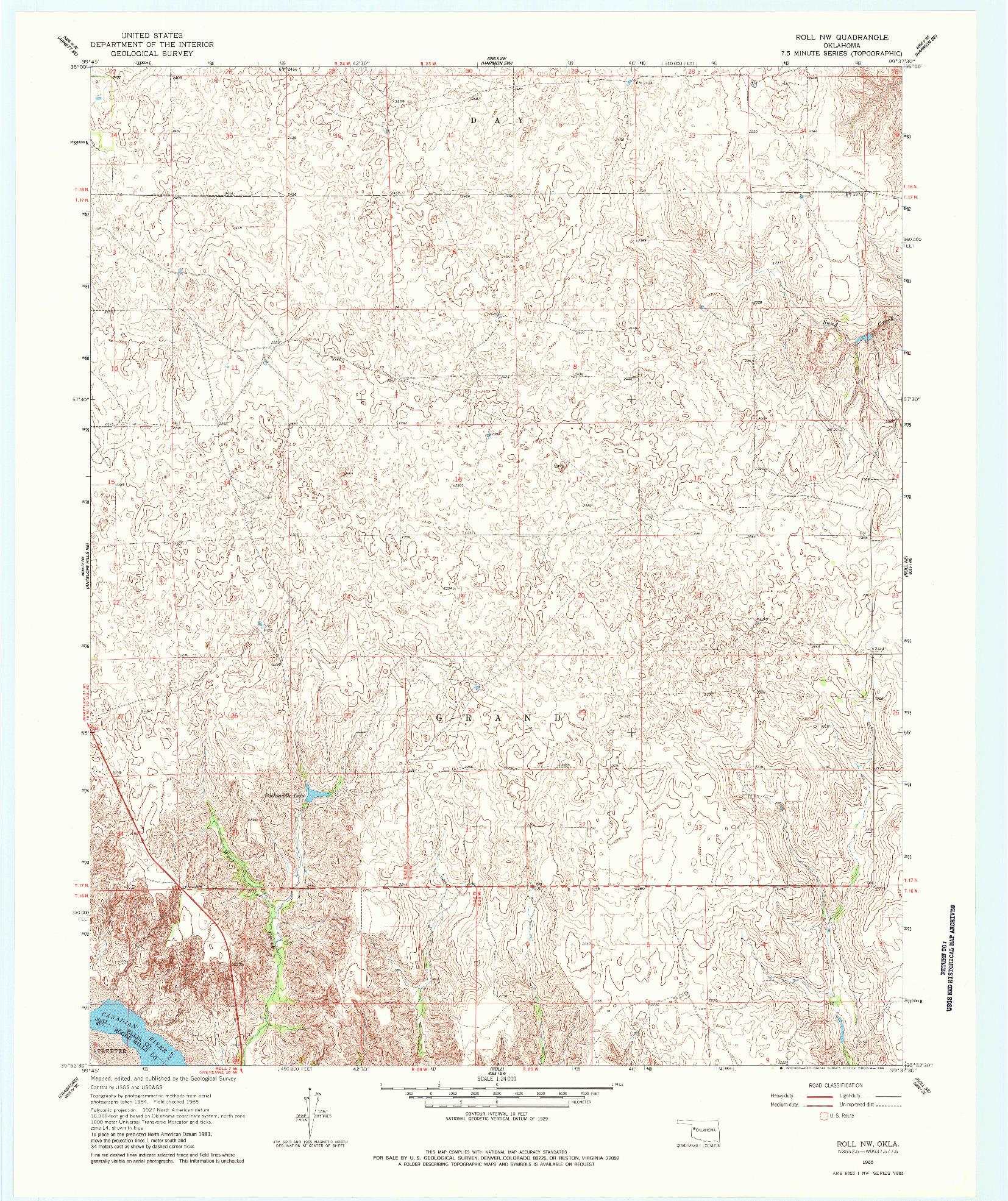 USGS 1:24000-SCALE QUADRANGLE FOR ROLL NW, OK 1965