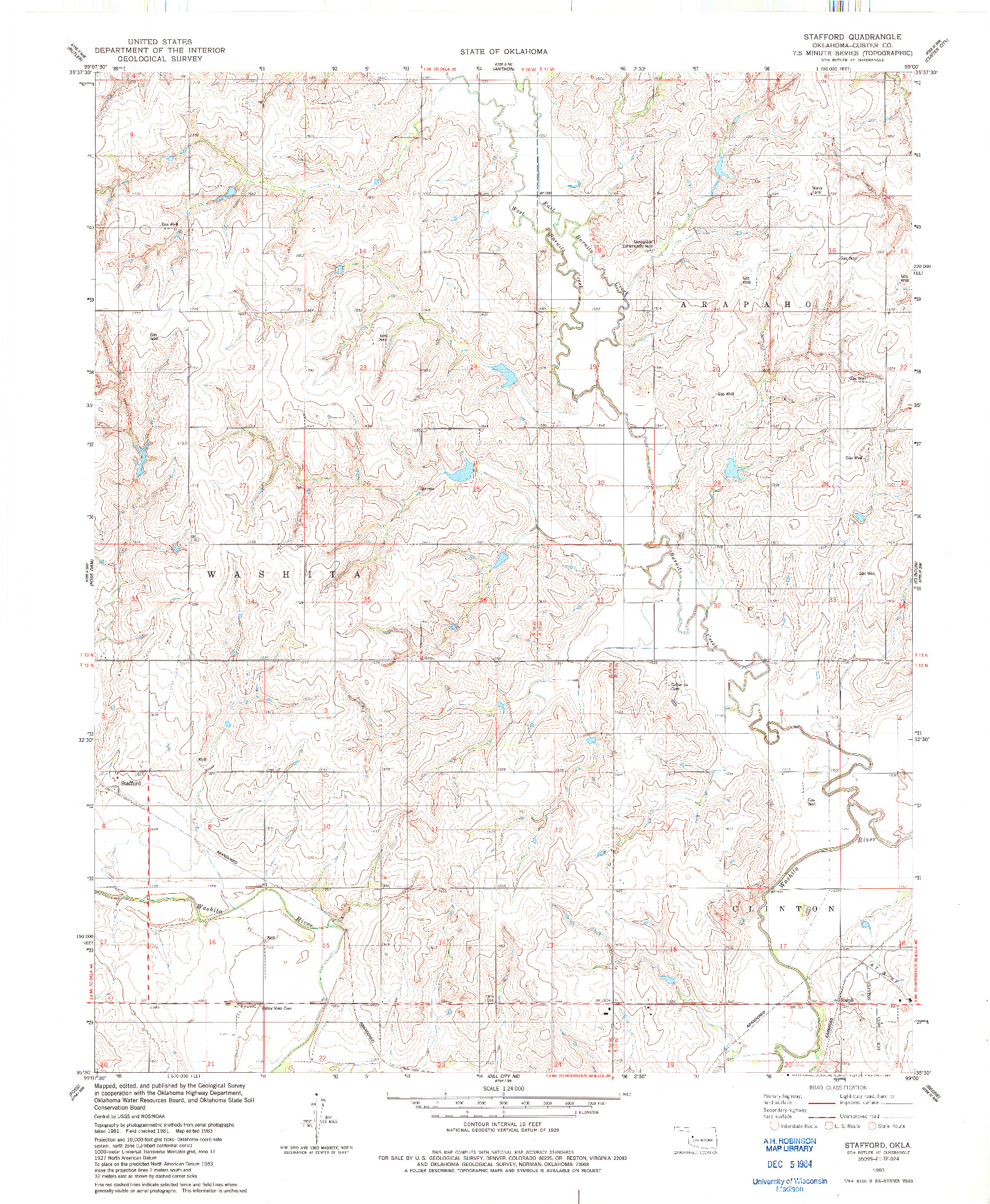 USGS 1:24000-SCALE QUADRANGLE FOR STAFFORD, OK 1983