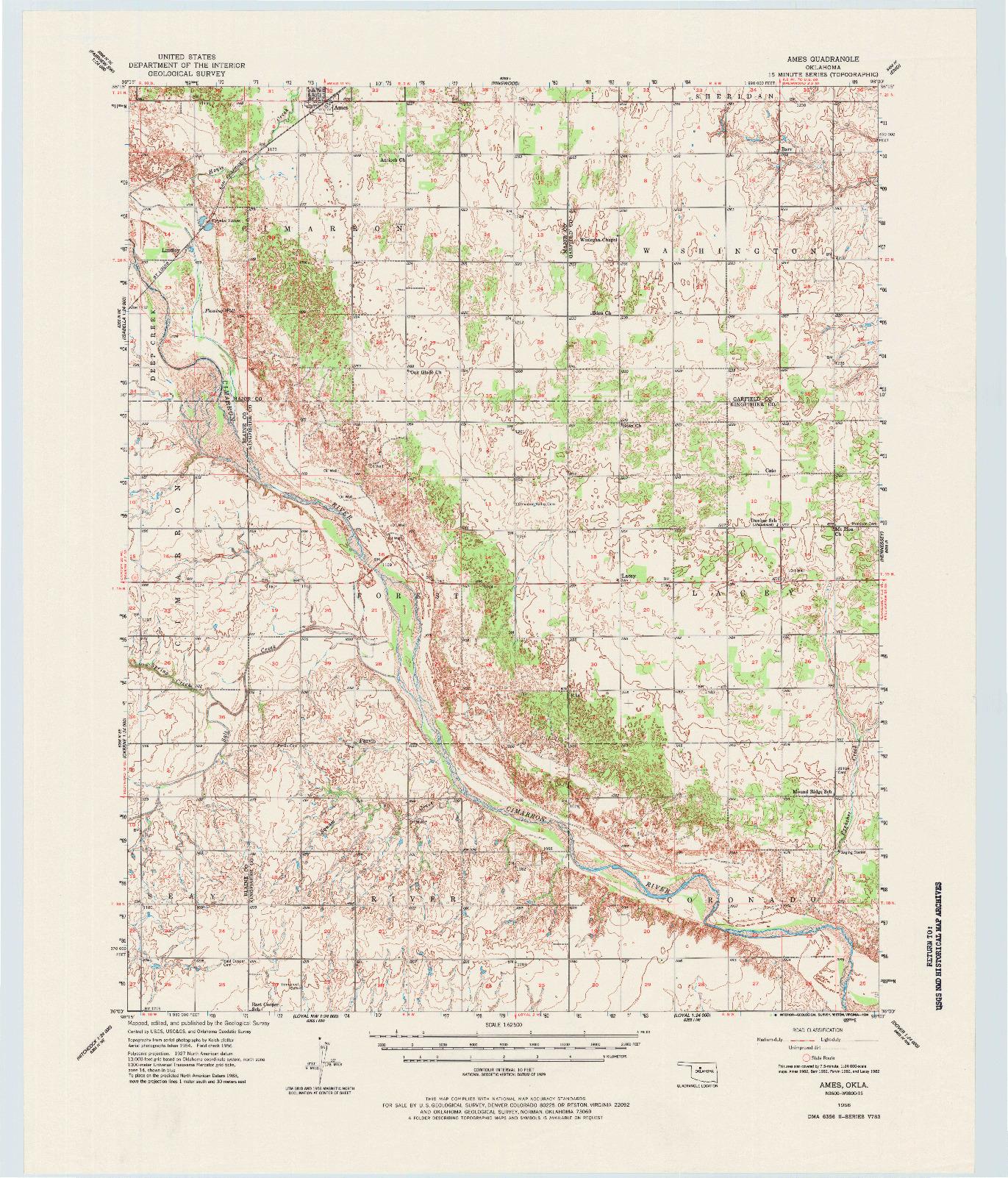 USGS 1:62500-SCALE QUADRANGLE FOR AMES, OK 1956