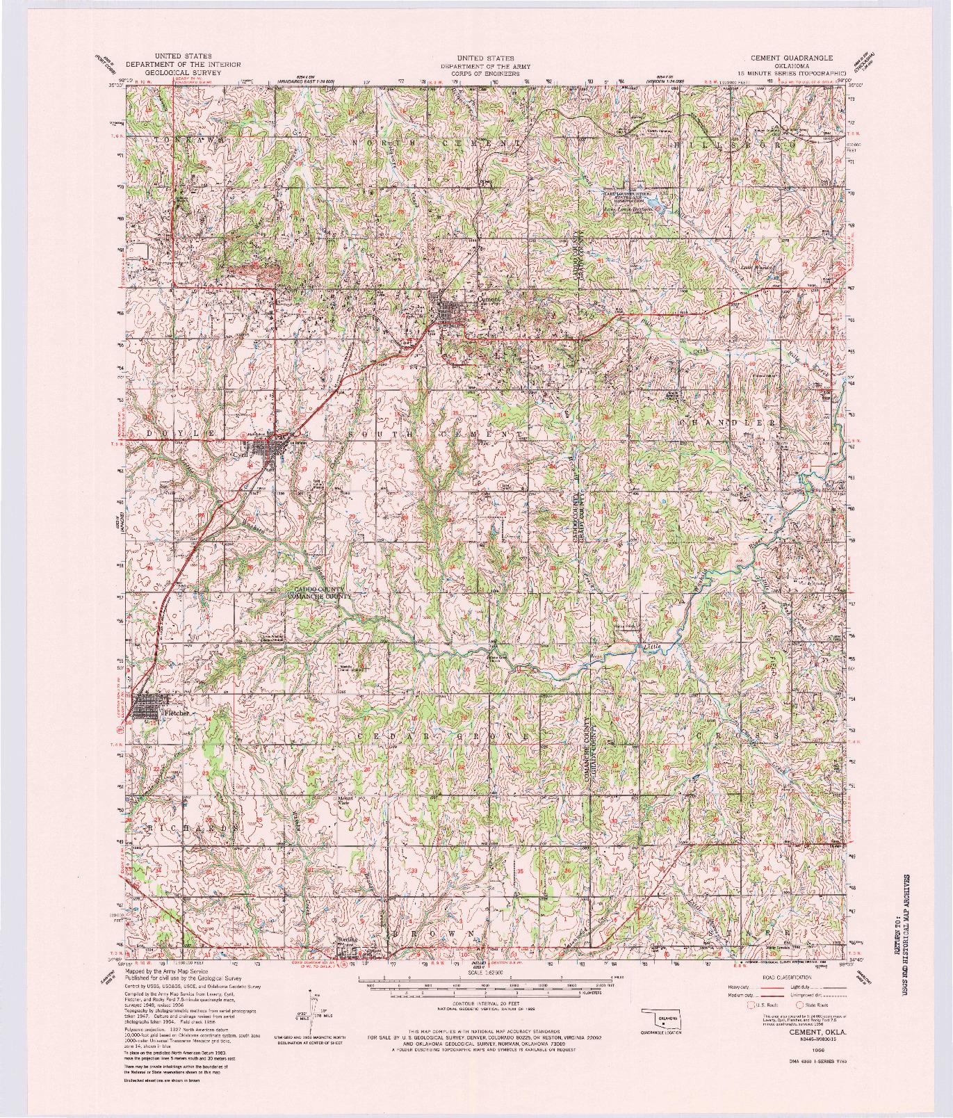USGS 1:62500-SCALE QUADRANGLE FOR CEMENT, OK 1956