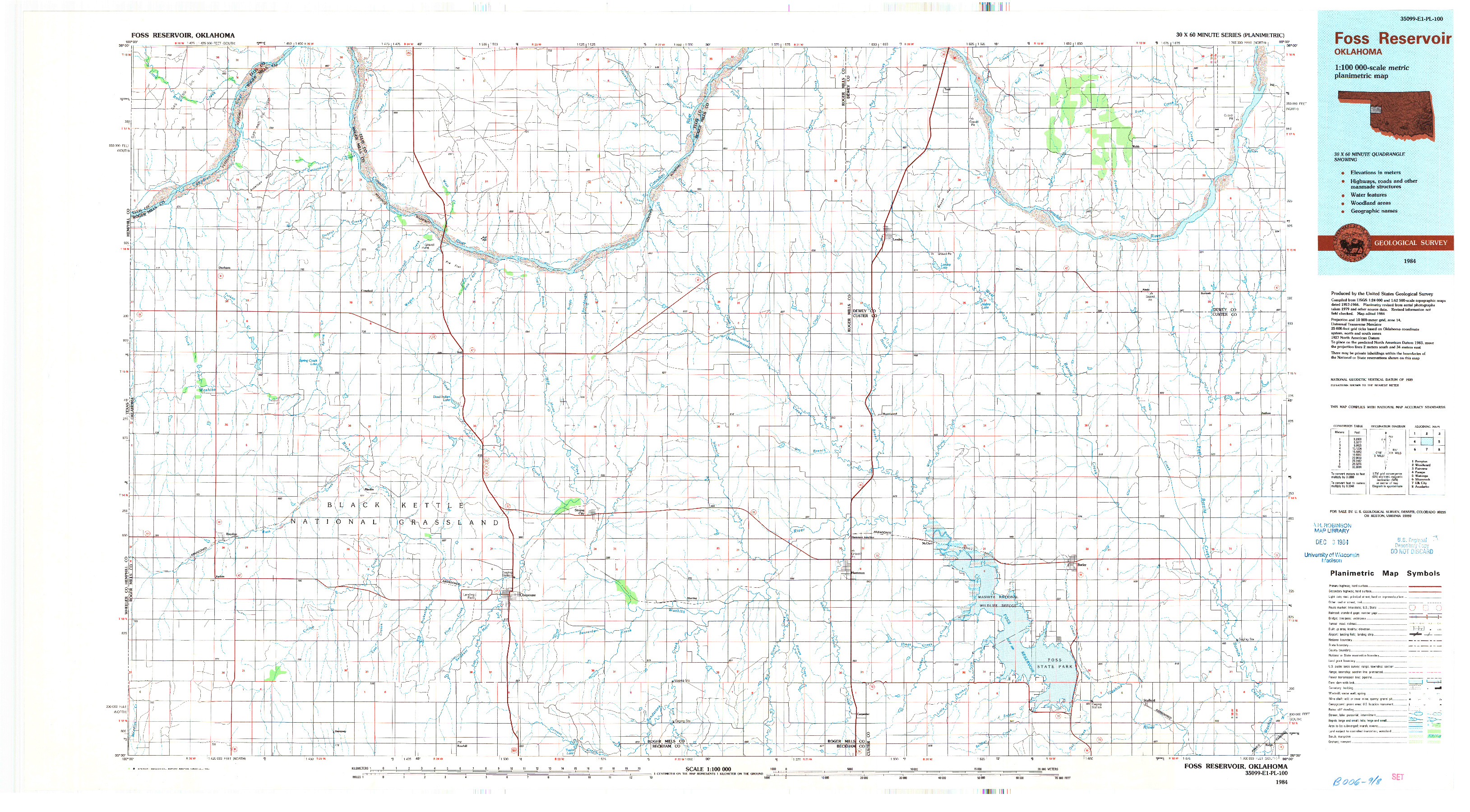 USGS 1:100000-SCALE QUADRANGLE FOR FOSS RESERVOIR, OK 1984