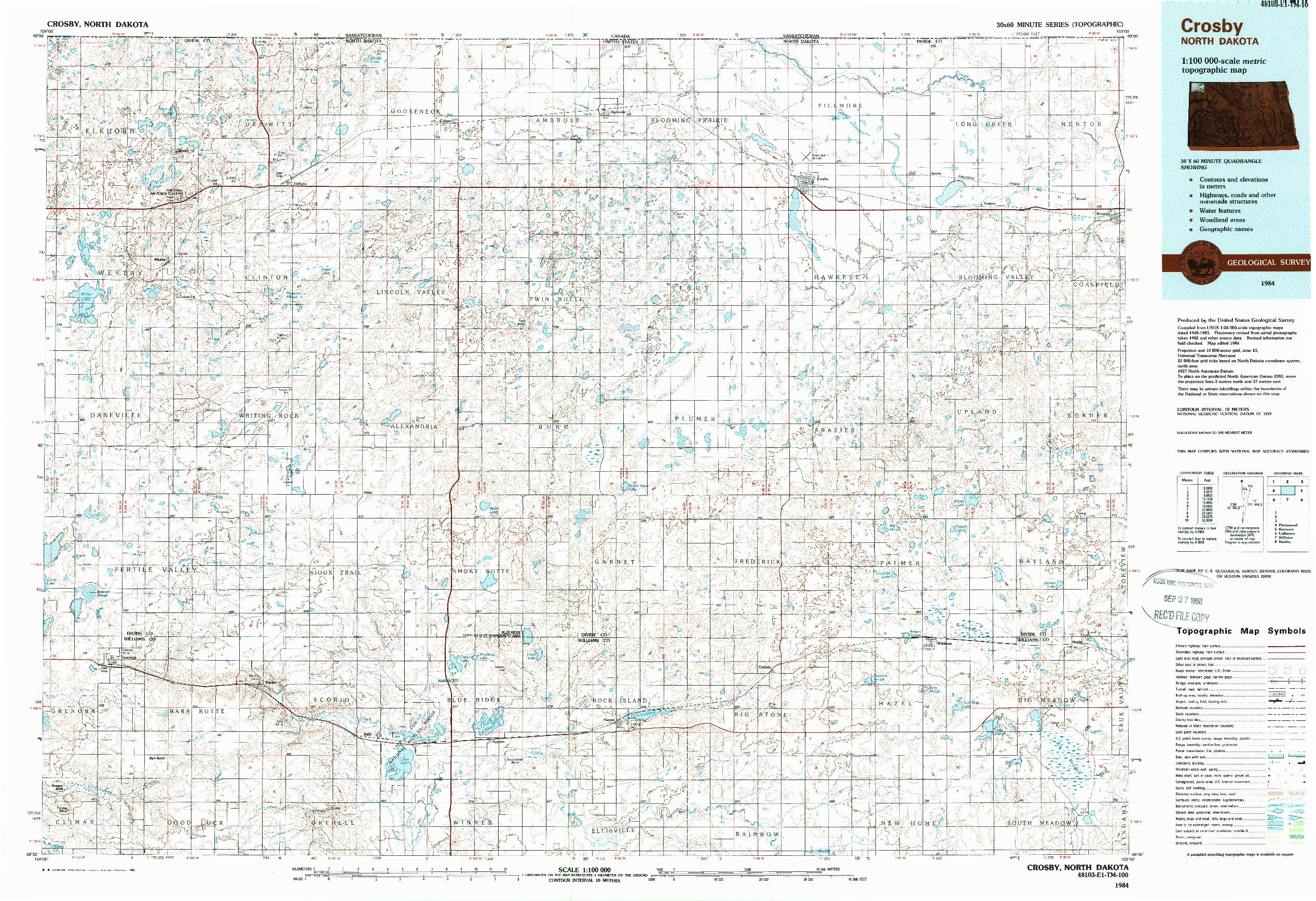 USGS 1:100000-SCALE QUADRANGLE FOR CROSBY, ND 1984