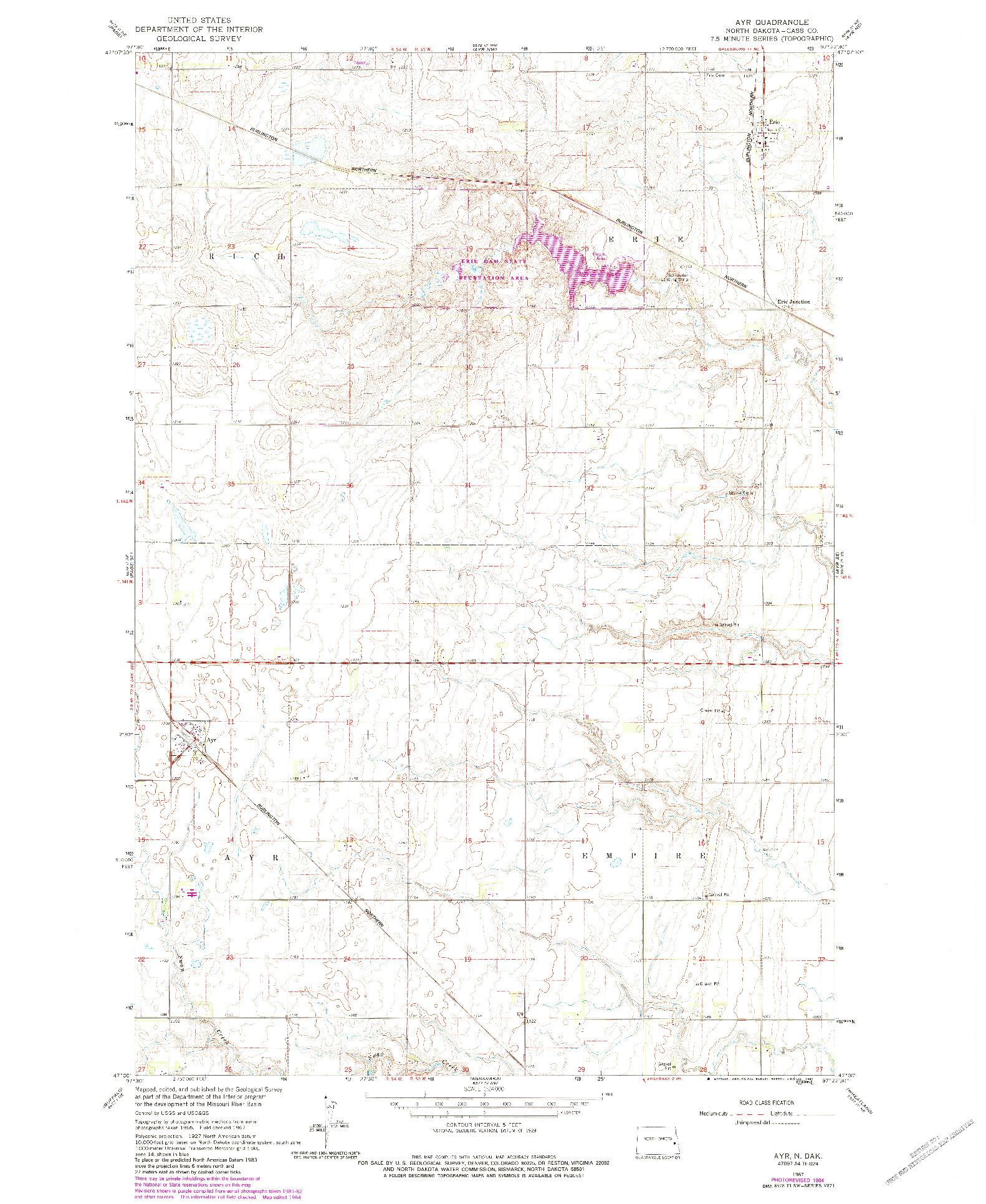 USGS 1:24000-SCALE QUADRANGLE FOR AYR, ND 1967