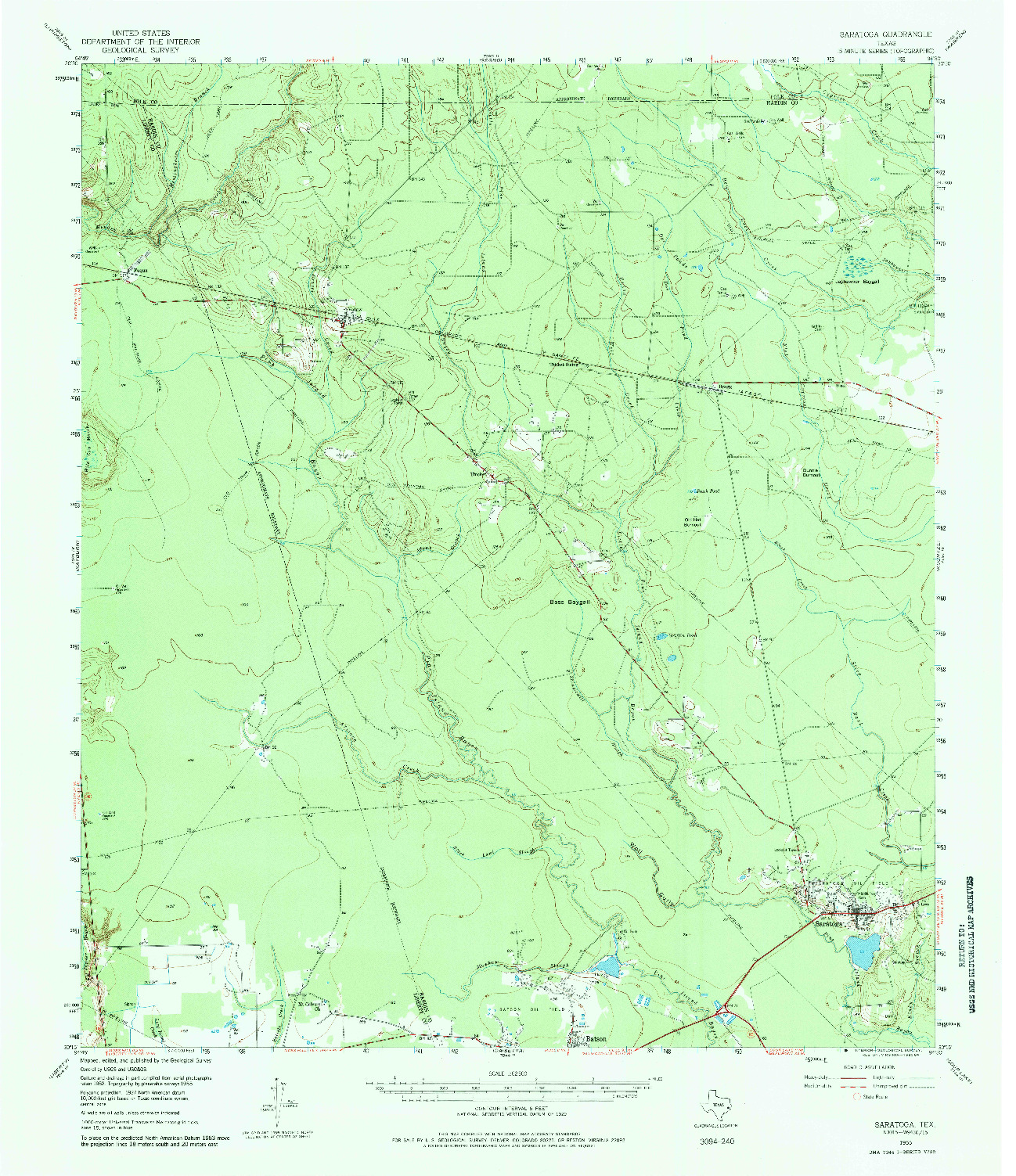 USGS 1:62500-SCALE QUADRANGLE FOR SARATOGA, TX 1955