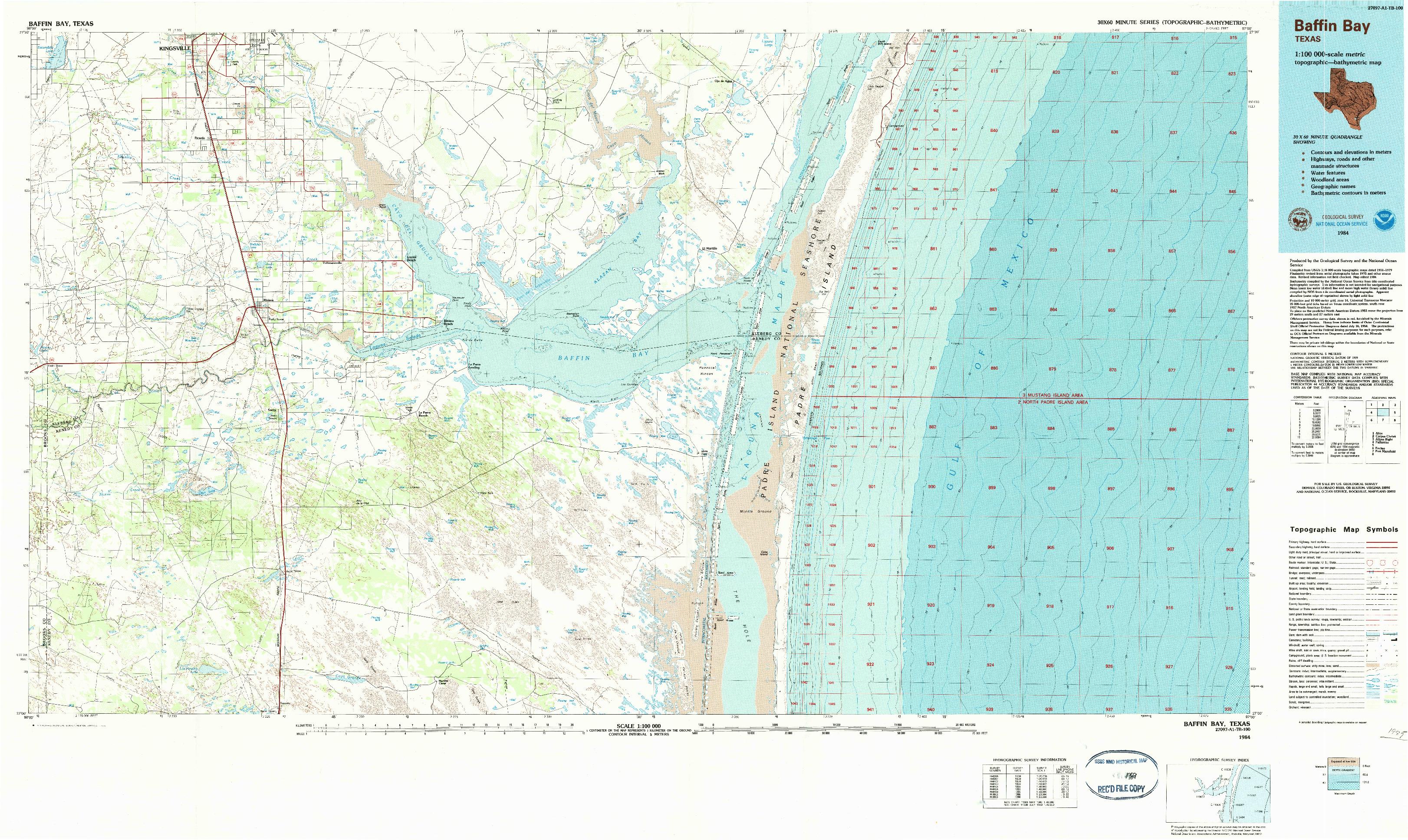 USGS 1:100000-SCALE QUADRANGLE FOR BAFFIN BAY, TX 1984