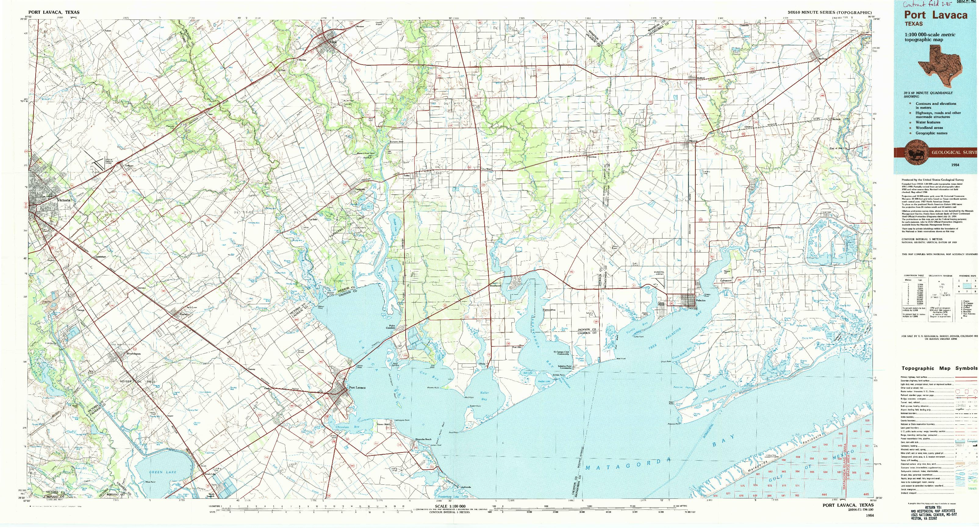 USGS 1:100000-SCALE QUADRANGLE FOR PORT LAVACA, TX 1984