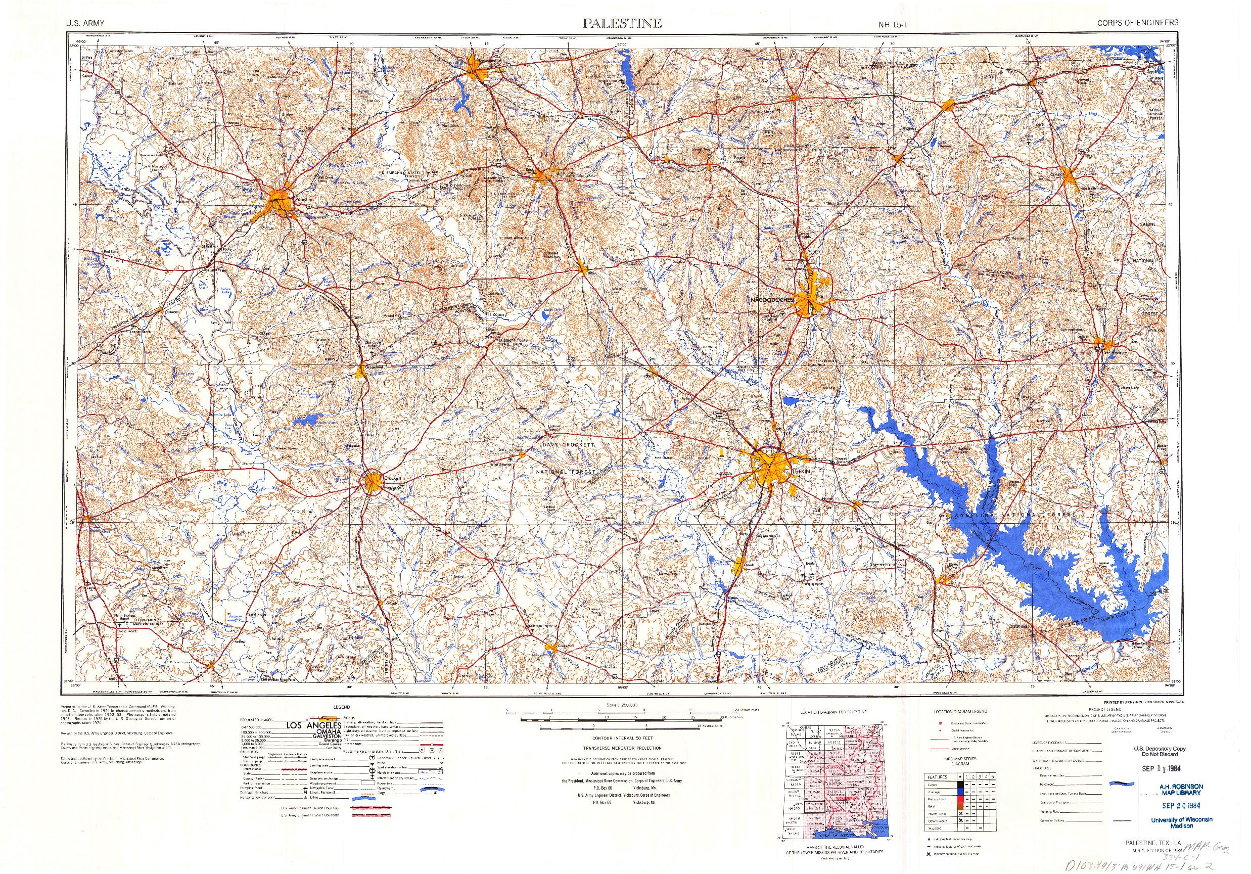 USGS 1:250000-SCALE QUADRANGLE FOR PALESTINE, TX 1984