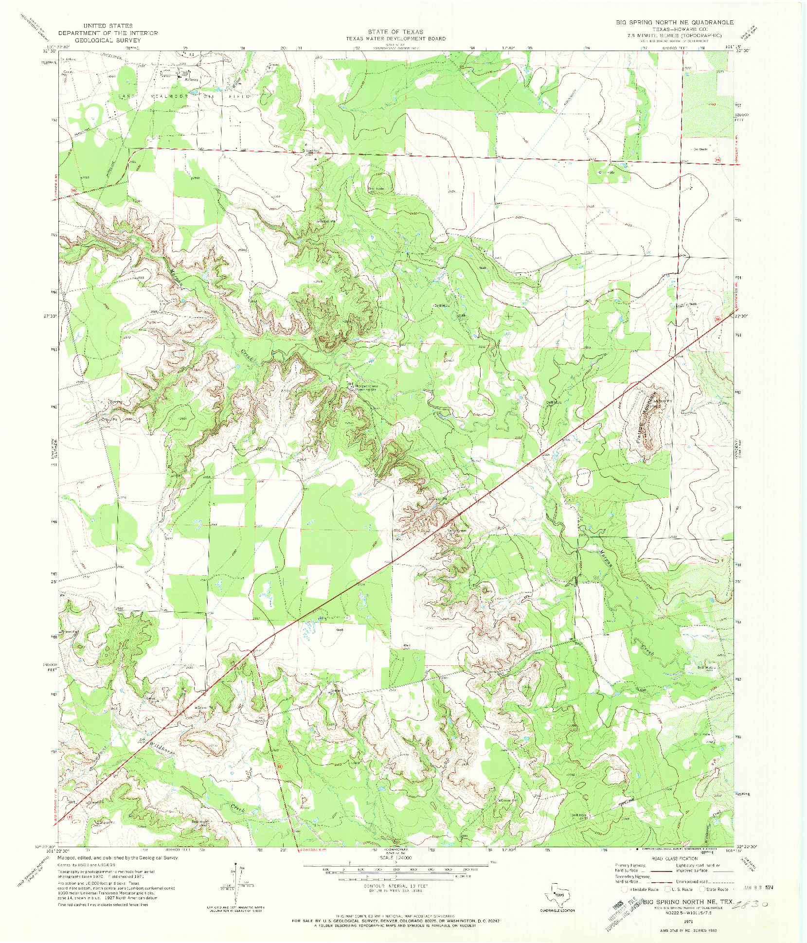USGS 1:24000-SCALE QUADRANGLE FOR BIG SPRING NORTH NE, TX 1954