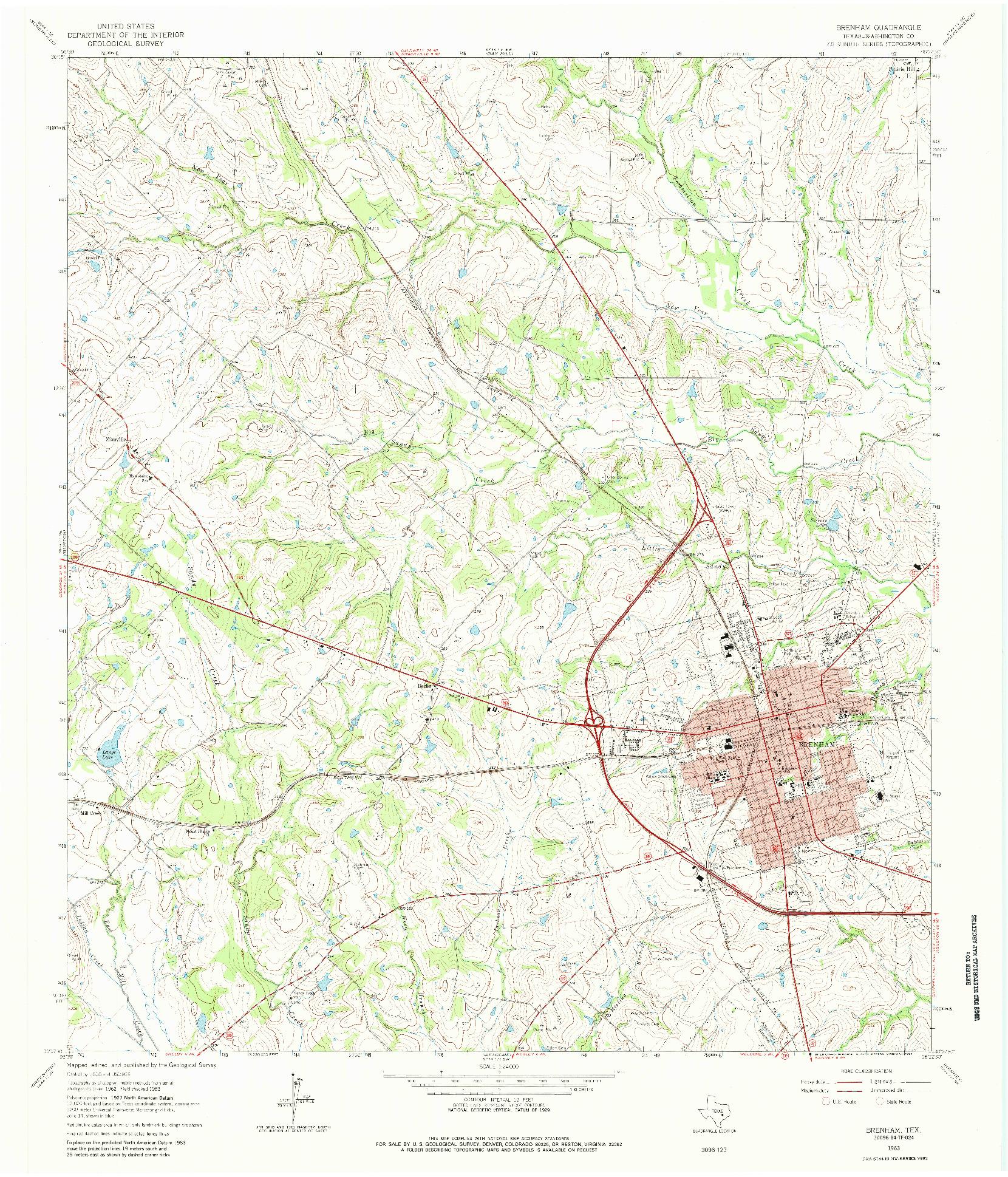 USGS 1:24000-SCALE QUADRANGLE FOR BRENHAM, TX 1963