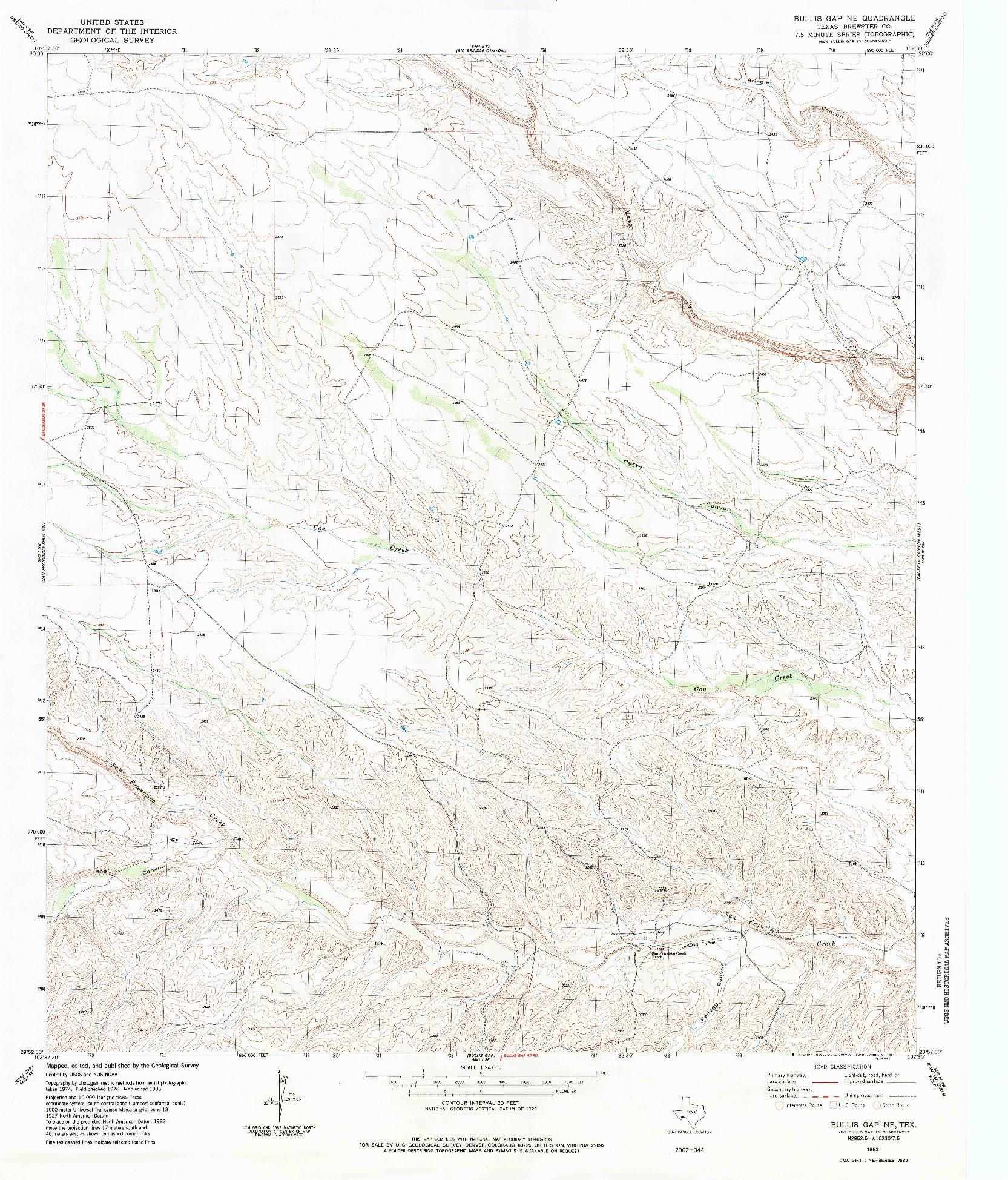 USGS 1:24000-SCALE QUADRANGLE FOR BULLIS GAP NE, TX 1983