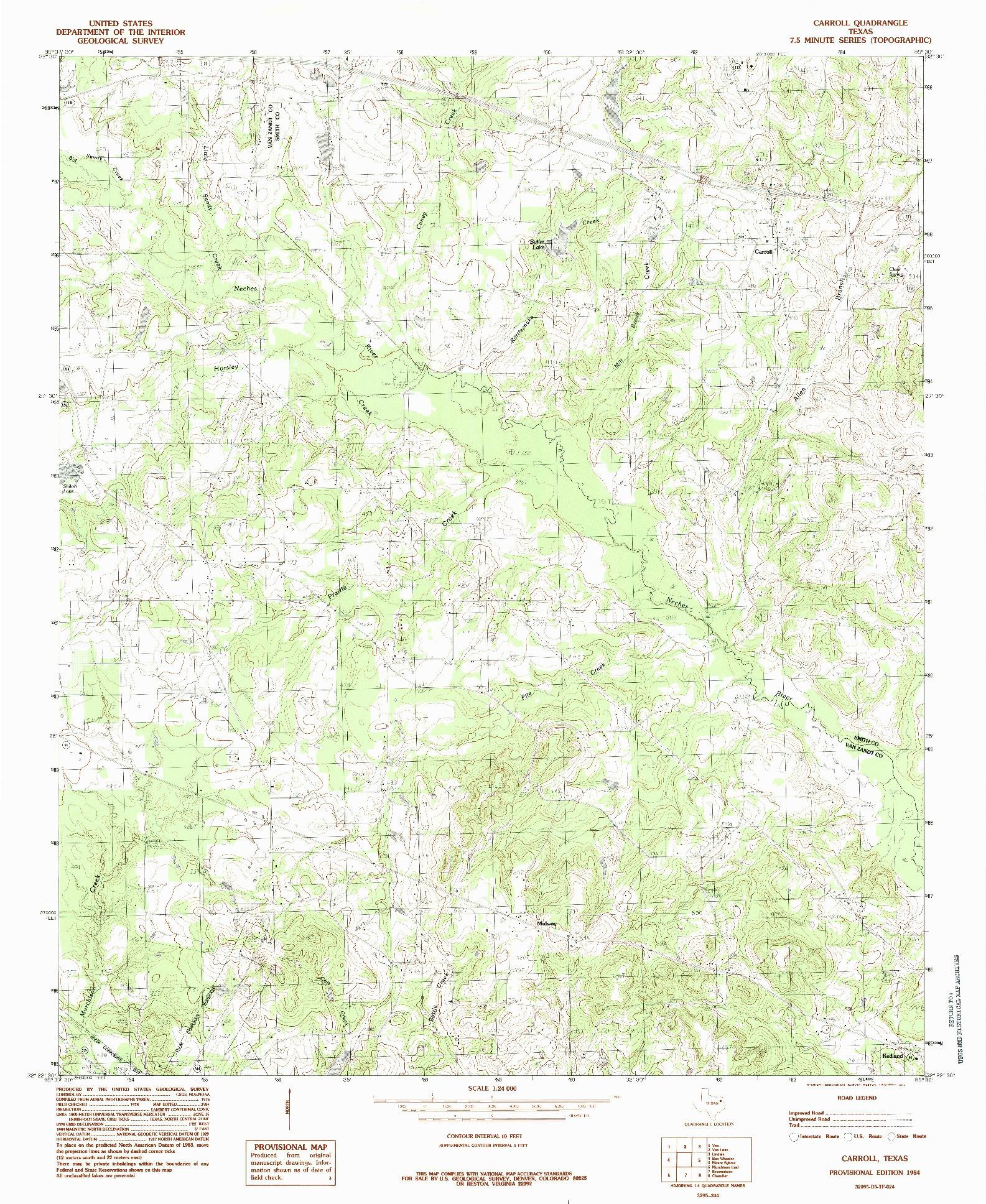 USGS 1:24000-SCALE QUADRANGLE FOR CARROLL, TX 1984