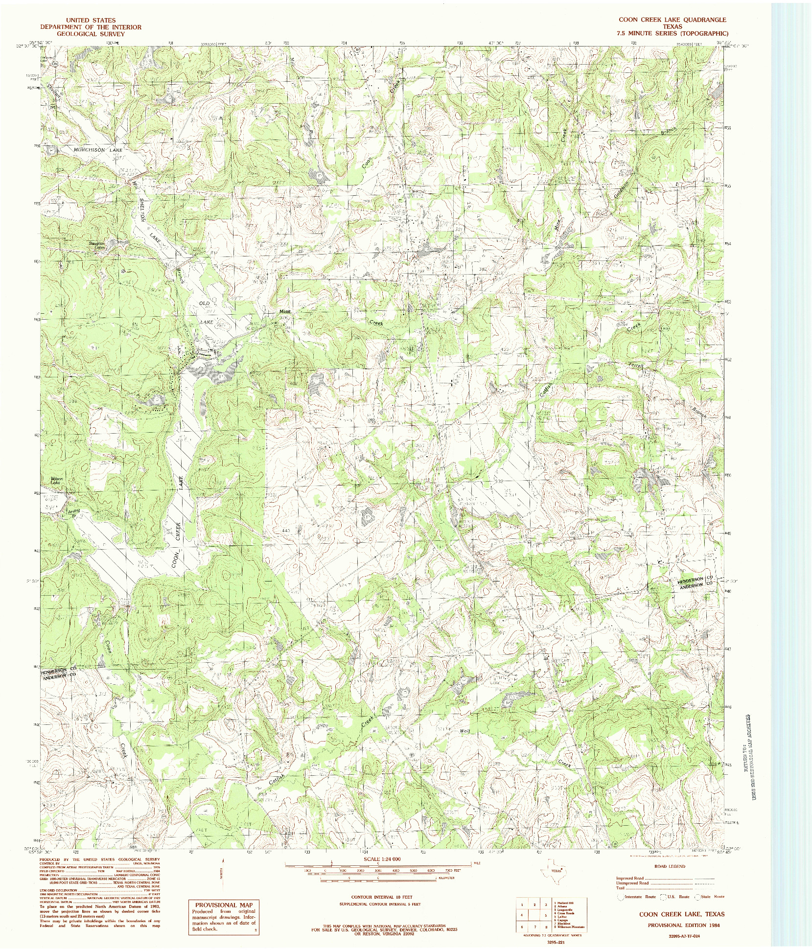 USGS 1:24000-SCALE QUADRANGLE FOR COON CREEK LAKE, TX 1984