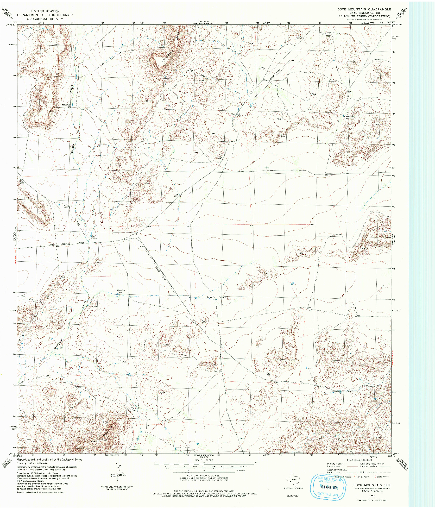 USGS 1:24000-SCALE QUADRANGLE FOR DOVE MOUNTAIN, TX 1983