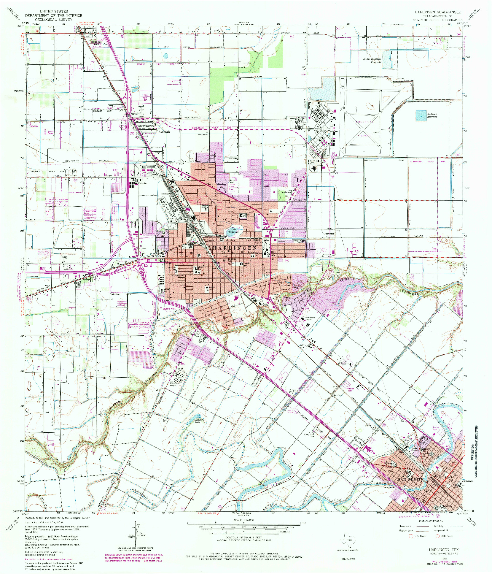 USGS 1:24000-SCALE QUADRANGLE FOR HARLINGEN, TX 1956
