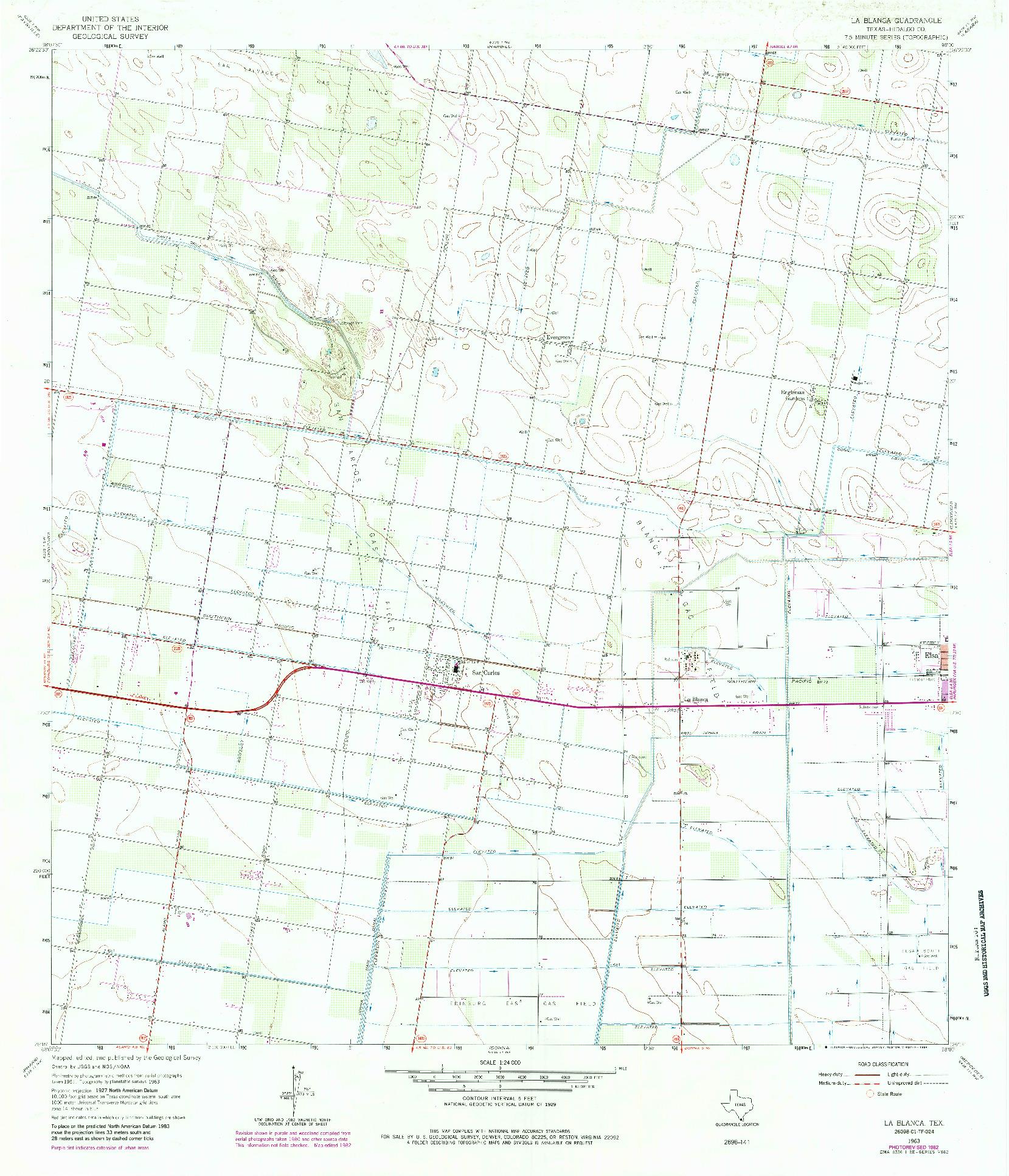 USGS 1:24000-SCALE QUADRANGLE FOR LA BLANCA, TX 1963