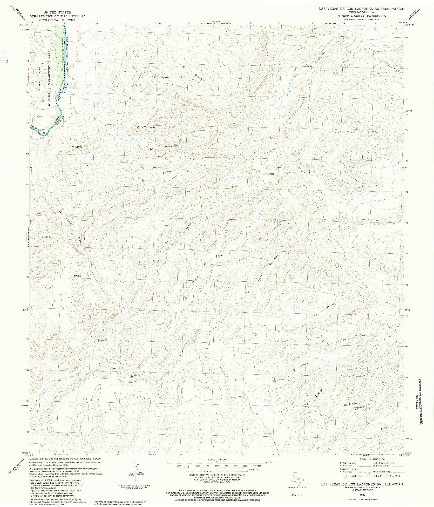 USGS 1:24000-SCALE QUADRANGLE FOR LAS VEGAS DE LOS LADRONES SW, TX 1983