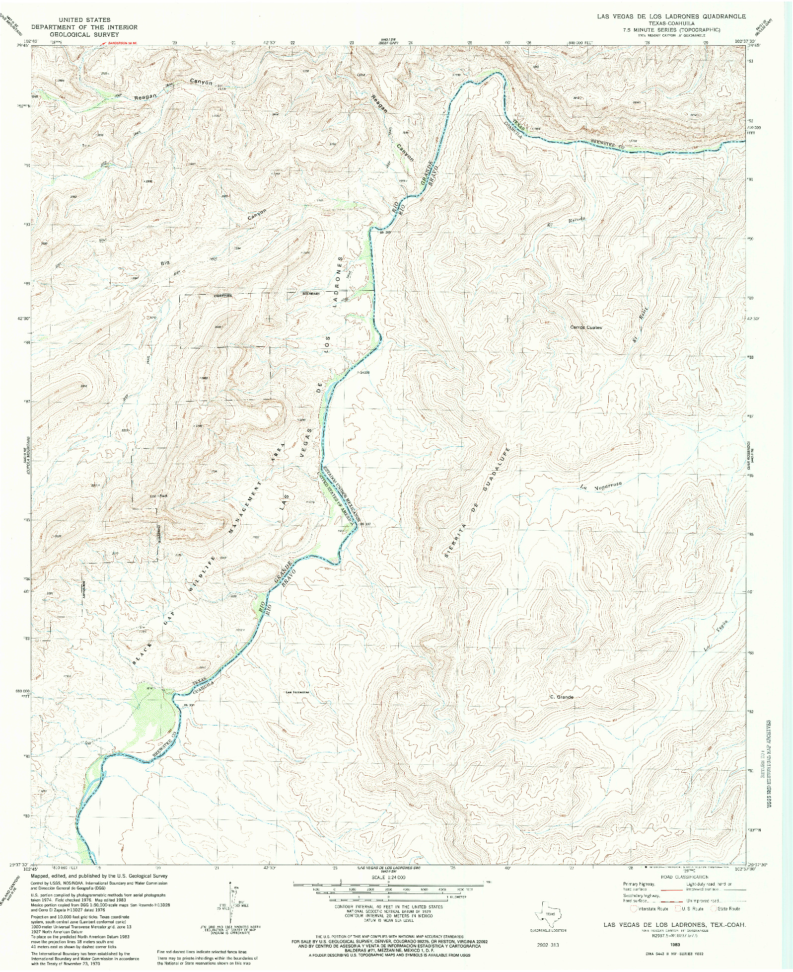 USGS 1:24000-SCALE QUADRANGLE FOR LAS VEGAS DE LOS LADRONES, TX 1983